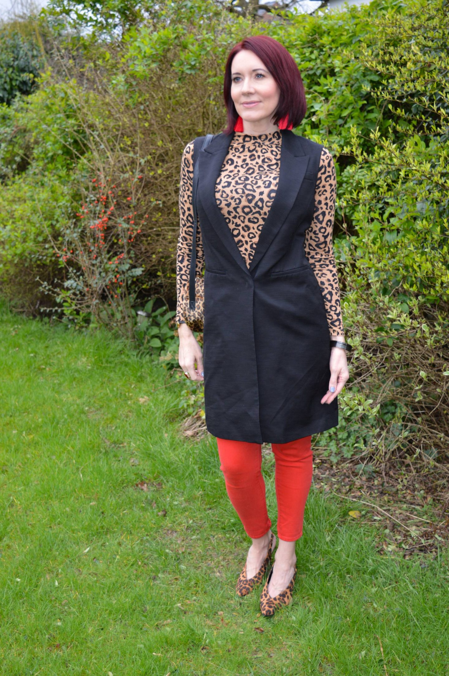 Coloured Denim For Spring - March Stylish Monday link up, Red Herring leopard print top, Skinny Dip leopard print bag, Dune leopard print sling back shoes, M&S black sleeveless trench coat