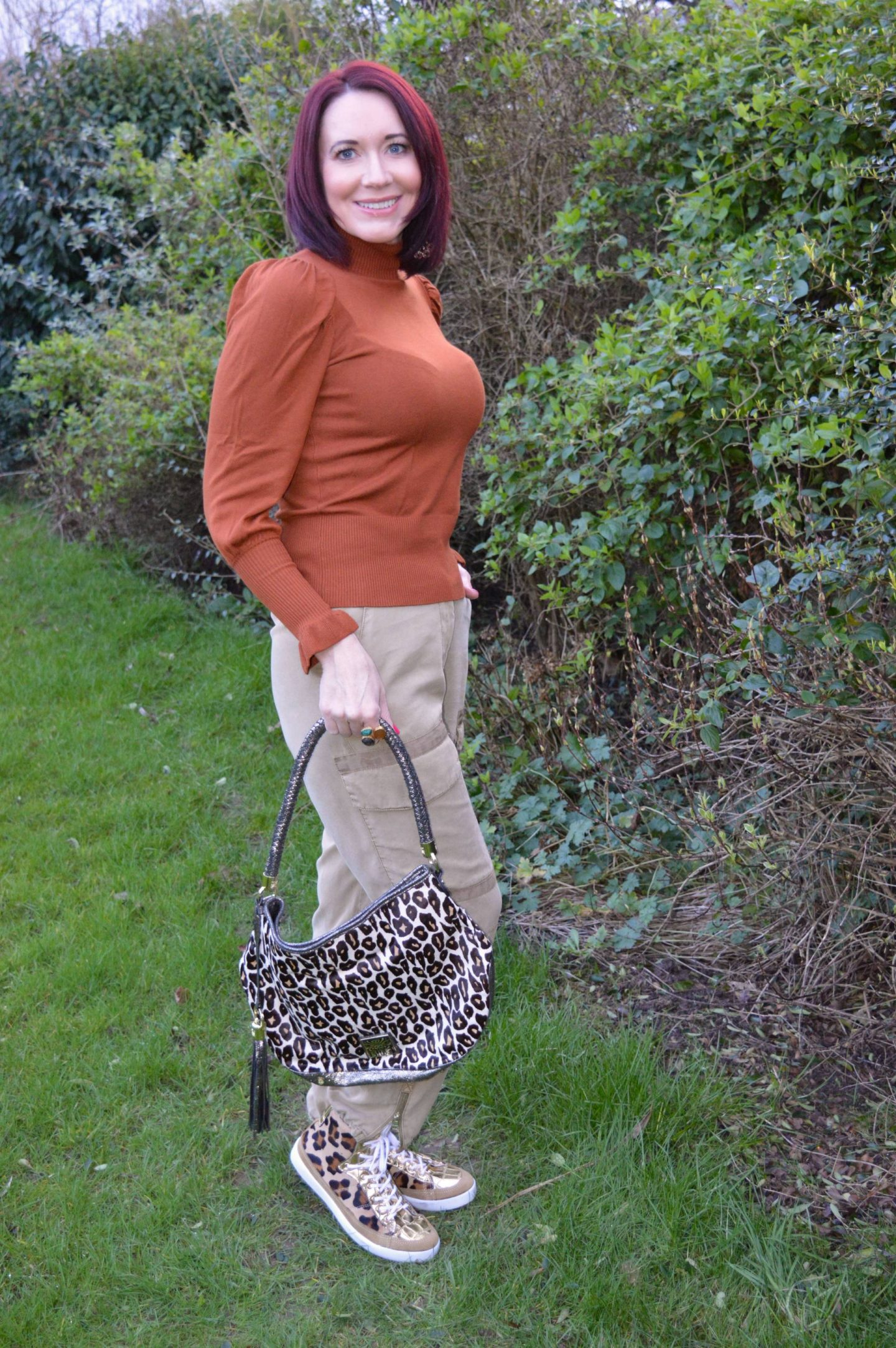 River Island rust frill sleeve jumper and Cargo Trousers