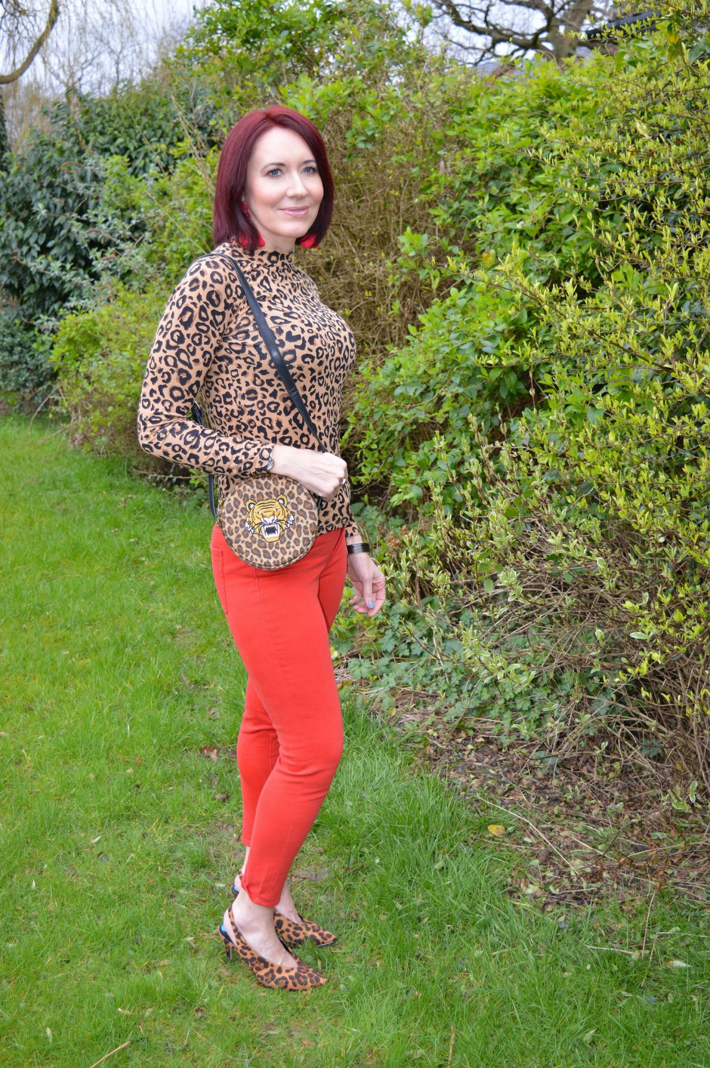 Coloured Denim For Spring - March Stylish Monday link up, Gap red skinny jeans, Skinny Dip leopard print bag
