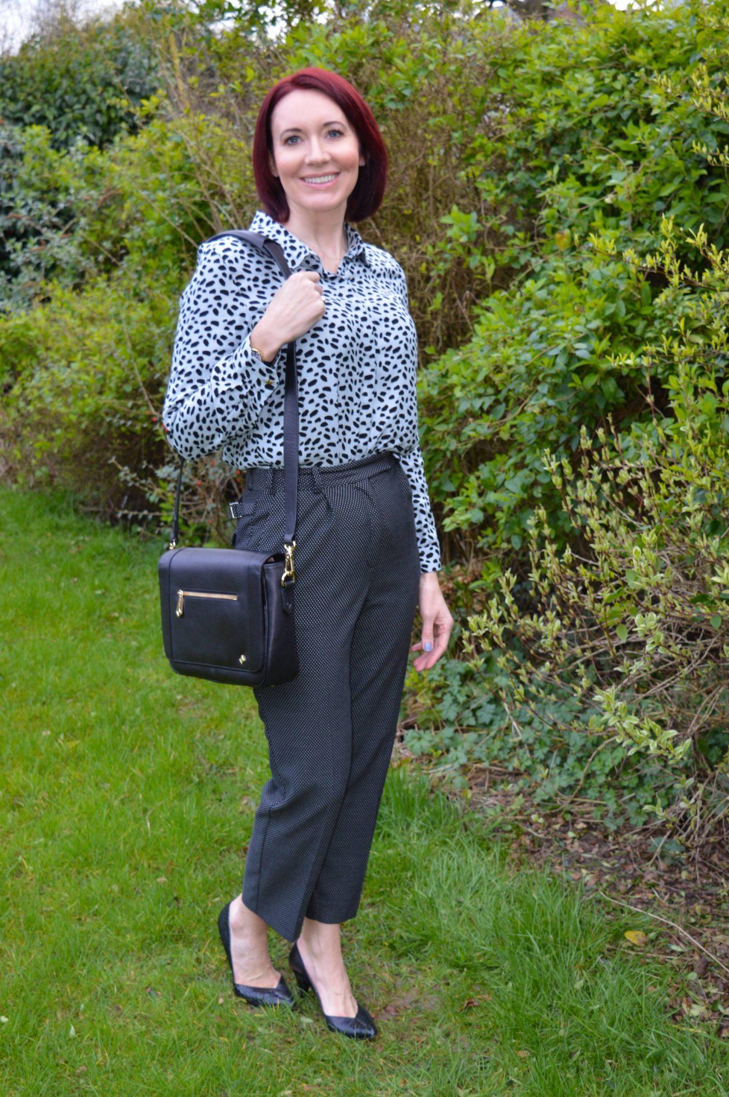 Business Casual Print Mixing, Fabienne Chapot Perfect Crazy Zoo blouse, Finery micro dot trousers, Jennifer Hamley Mini KT bag