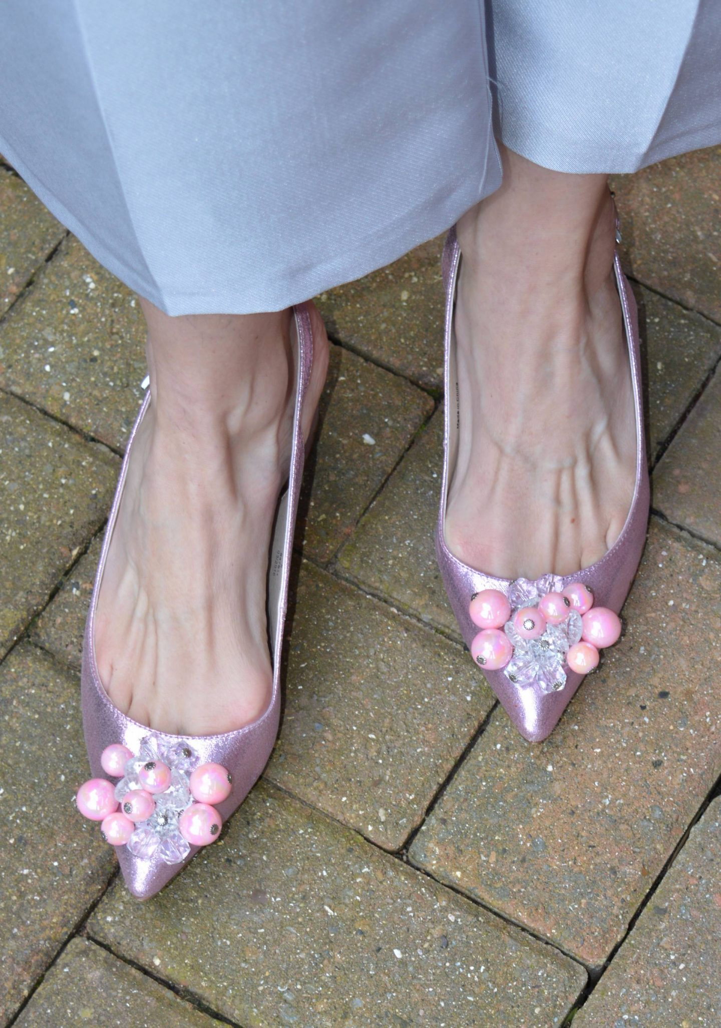 pink bead embellished shoes