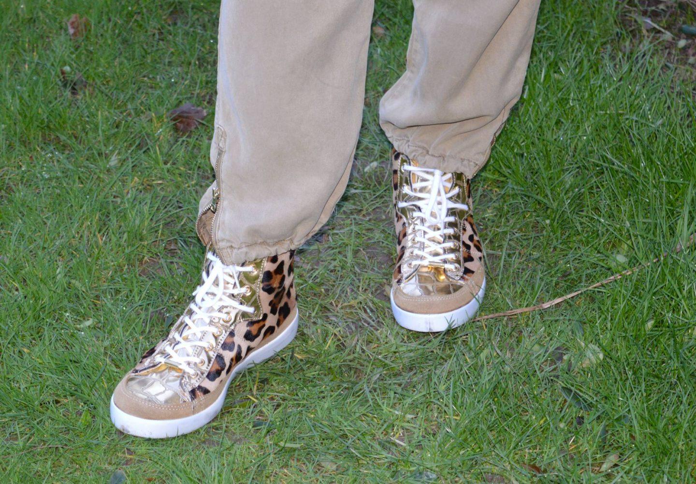 Kurt Geiger leopard print and gold high top trainers