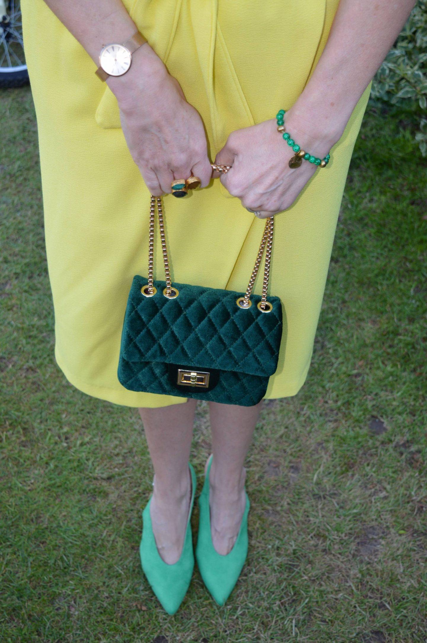 green velvet quilted bag