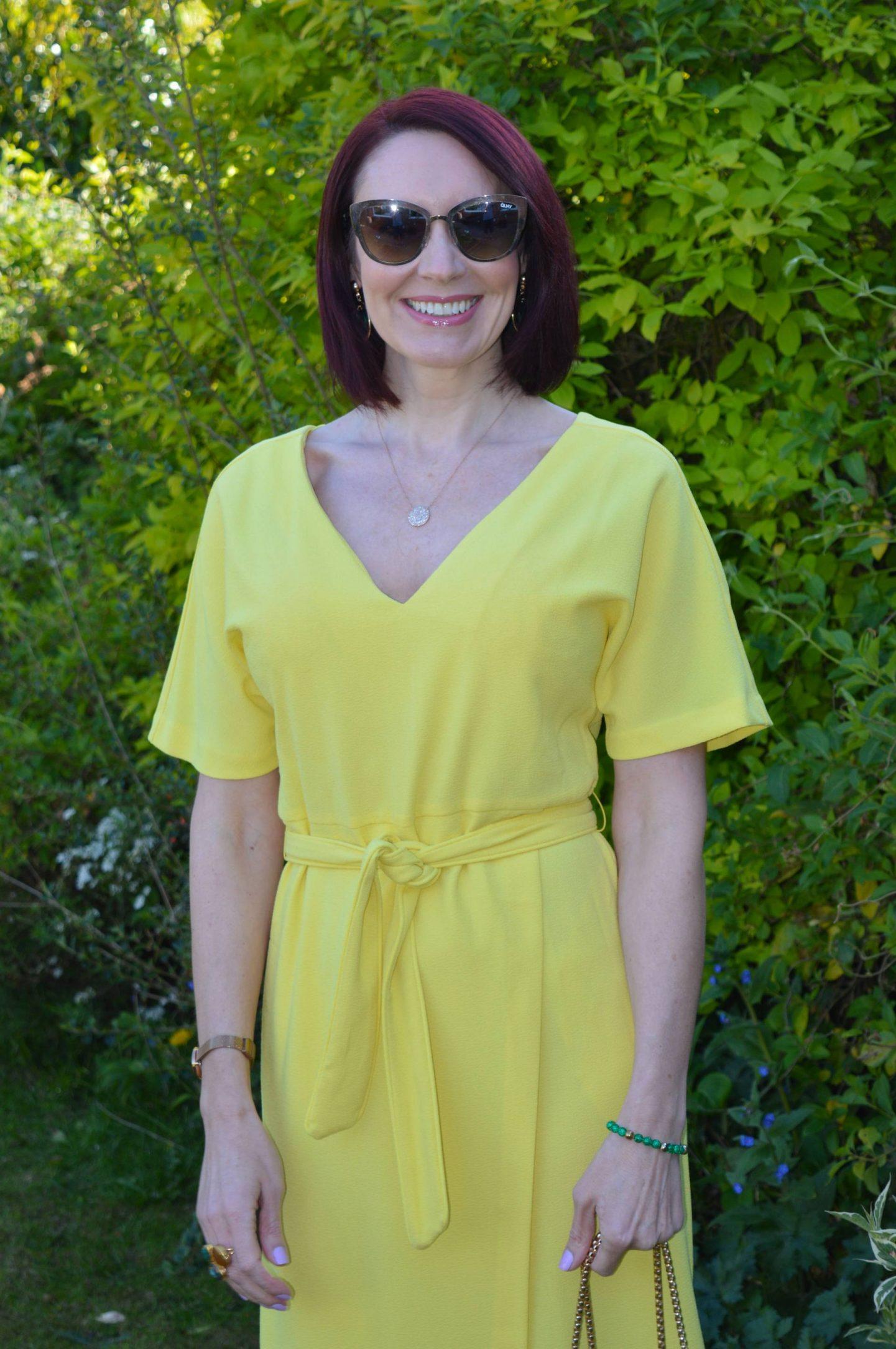 Quay gold sunglasses, Marks & Spencer dress