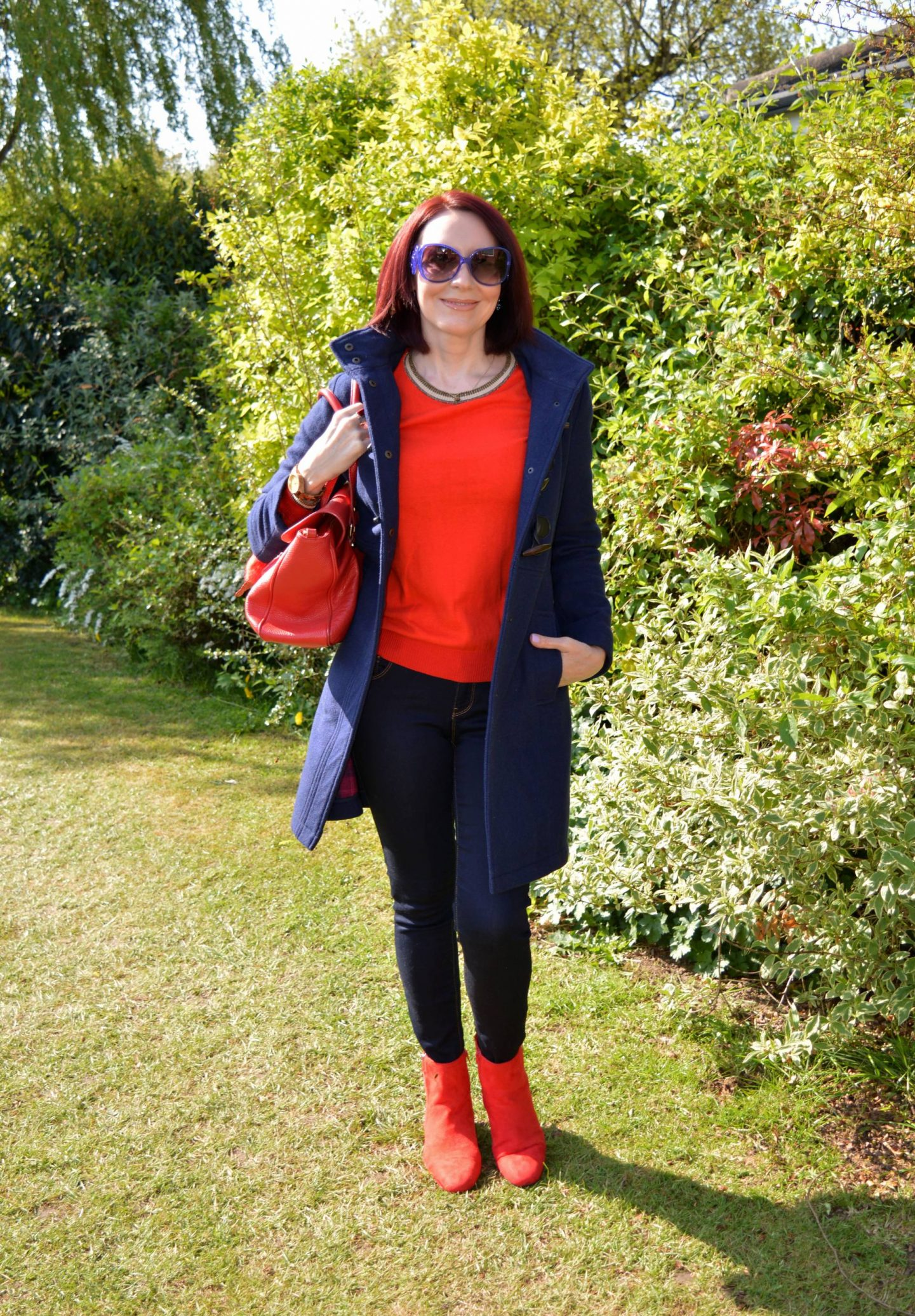 Navy and Bright Red - A Casual Outfit For Work, Scotch & Soda red jumper