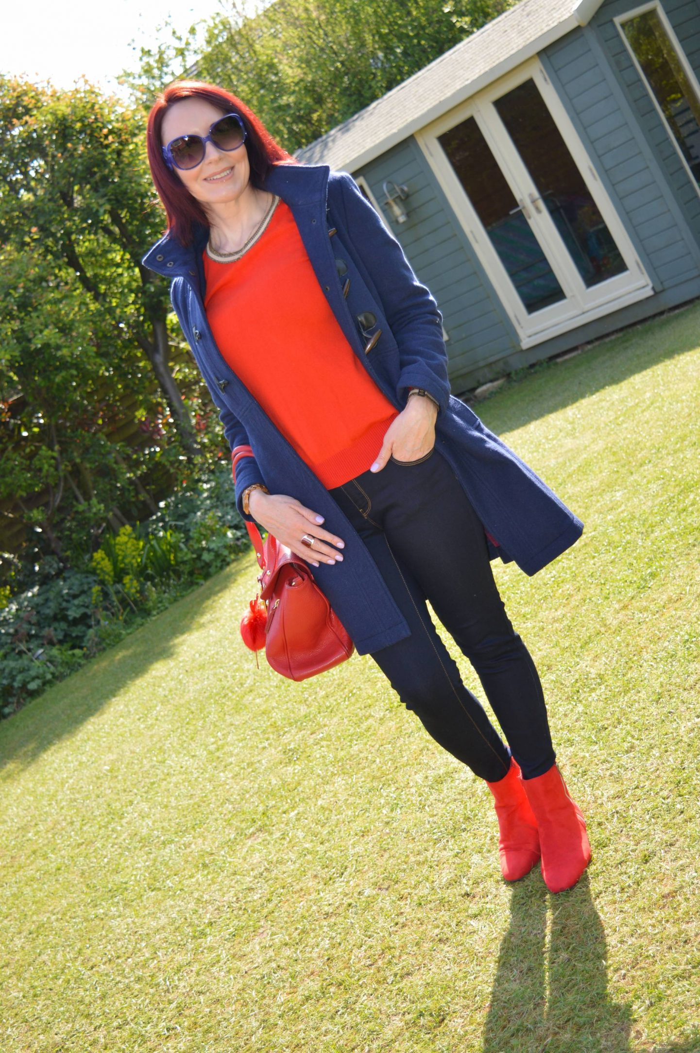 Navy and Bright Red - A Casual Outfit For Work, Scotch & Soda red jumper, Dickins & Jones navy duffle coat