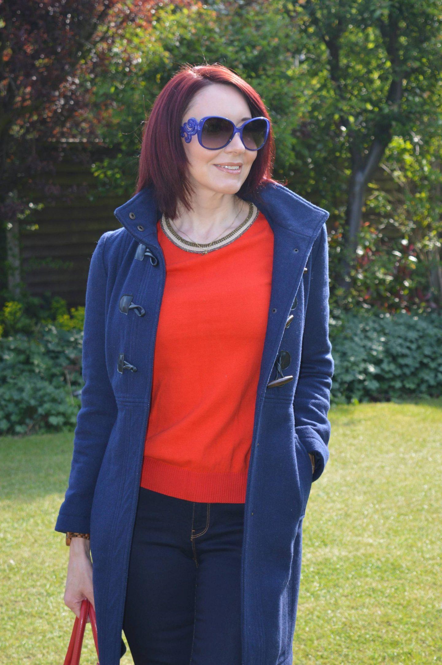Scotch & Soda red jumper, Dickins & Jones duffle coat