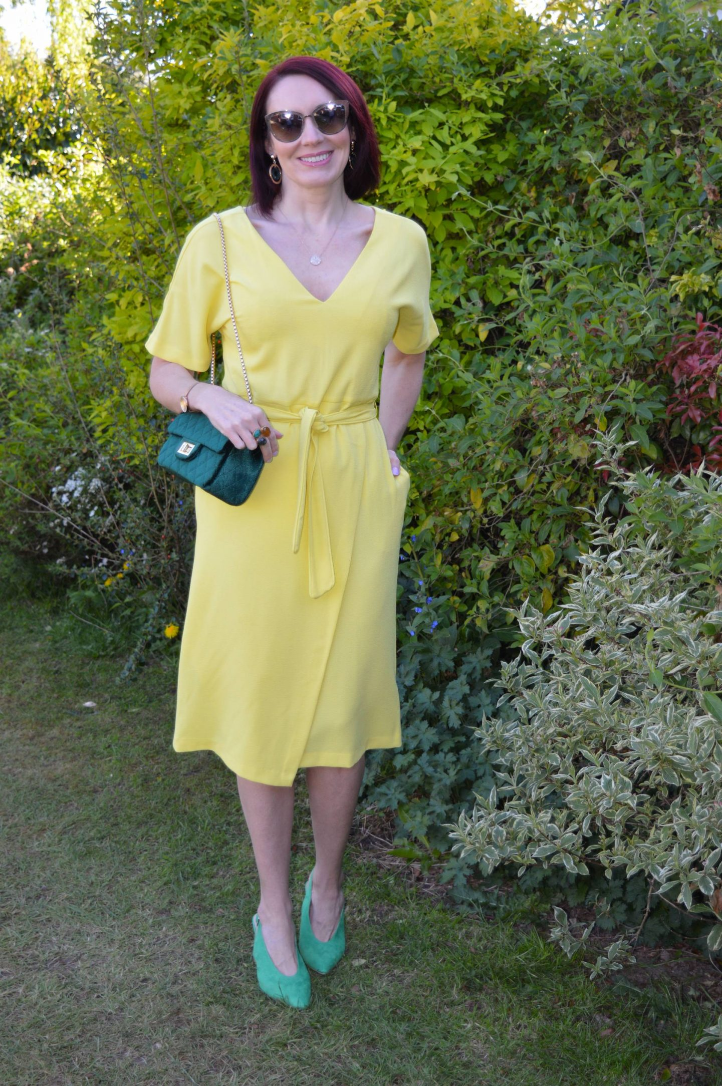 Yellow Belted Midi Dress With Green Accessories