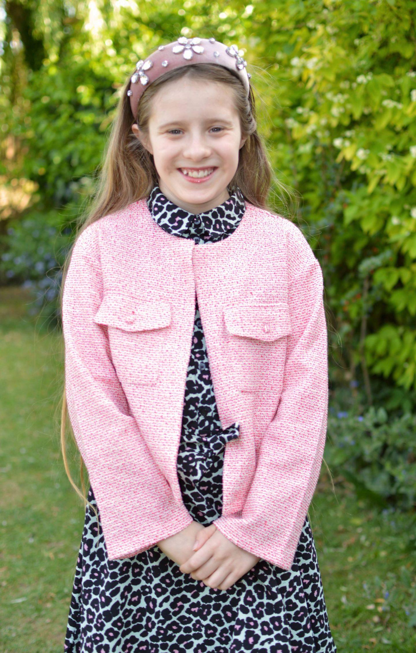 Mango girl's pink tweed jacket