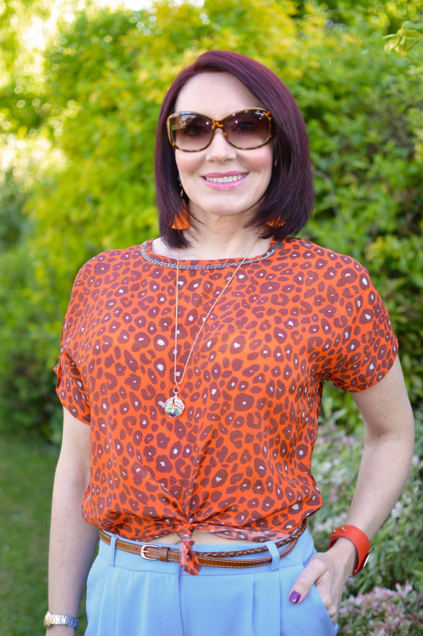 Blue and Bright Orange, Biba orange leopard print top, Asos orange velvet shoes