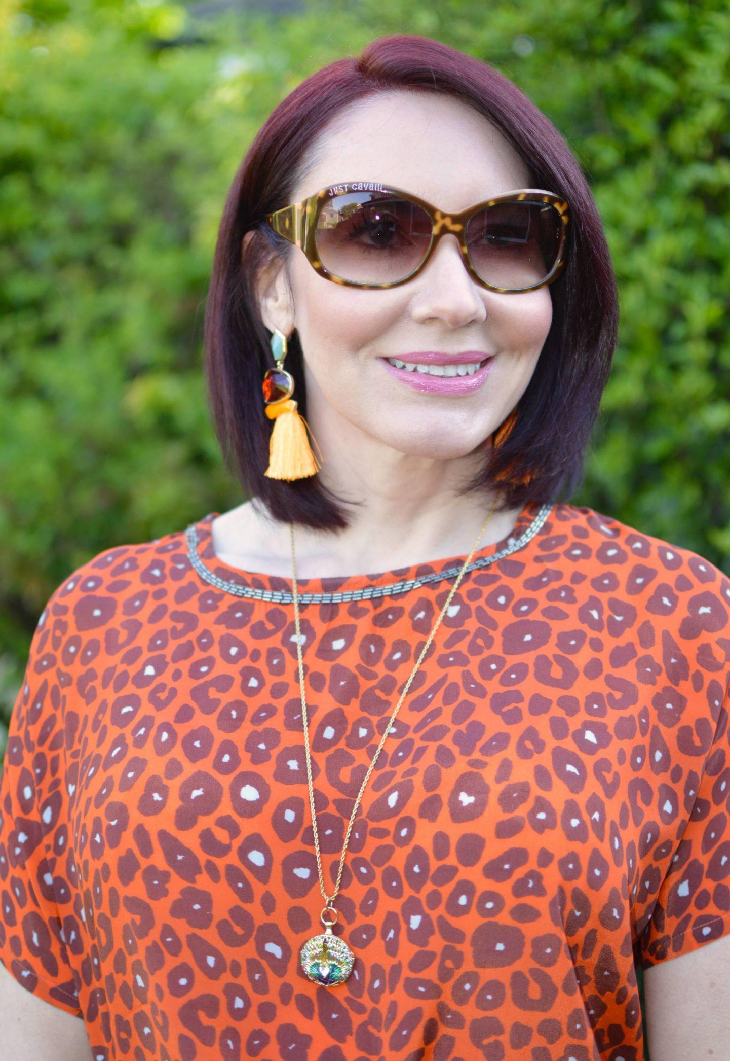 Biba orange leopard print top