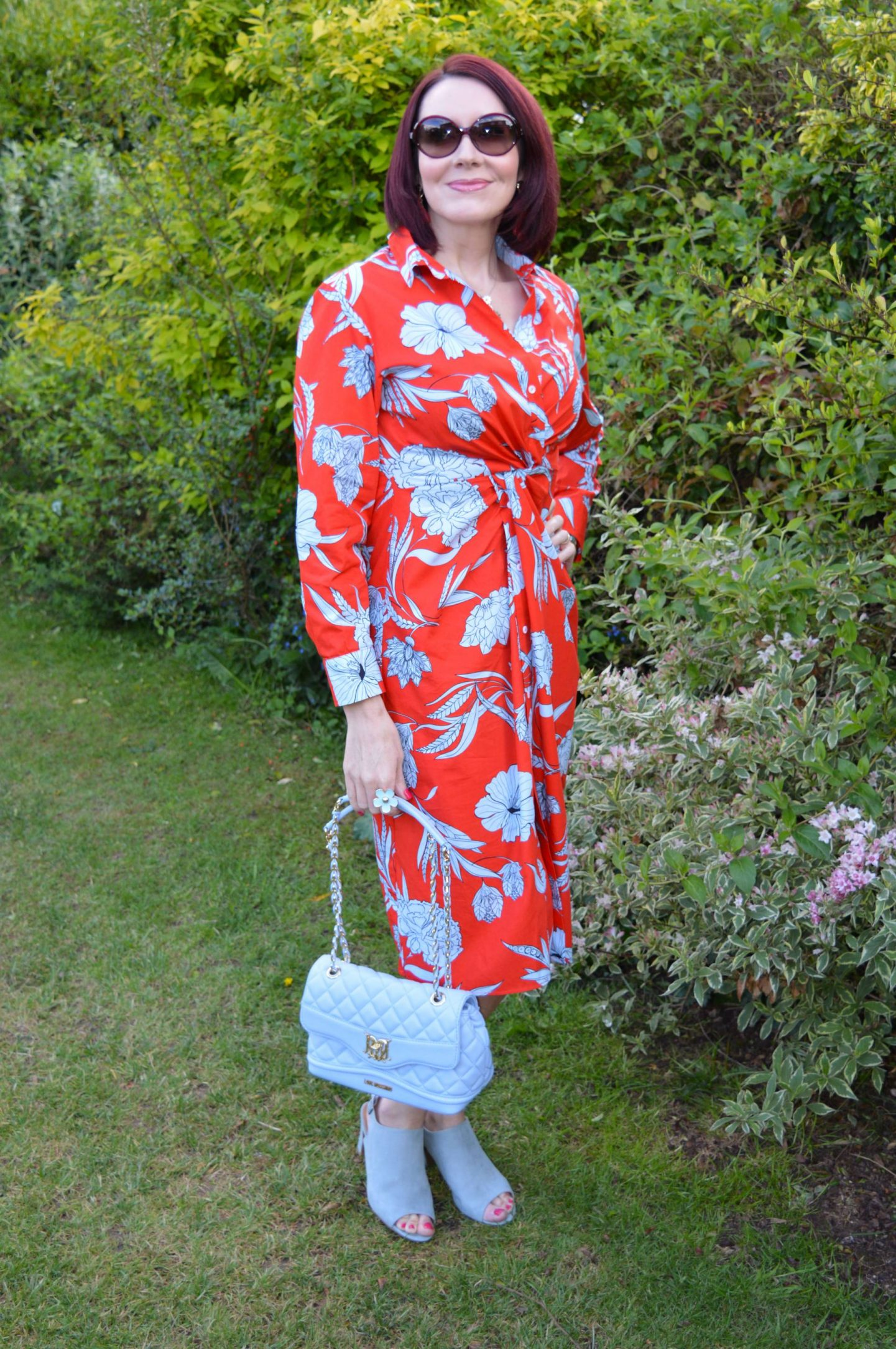 Fresh Florals For May, Zara red and blue floral print shirt dress, Love Moschino pale blue bag