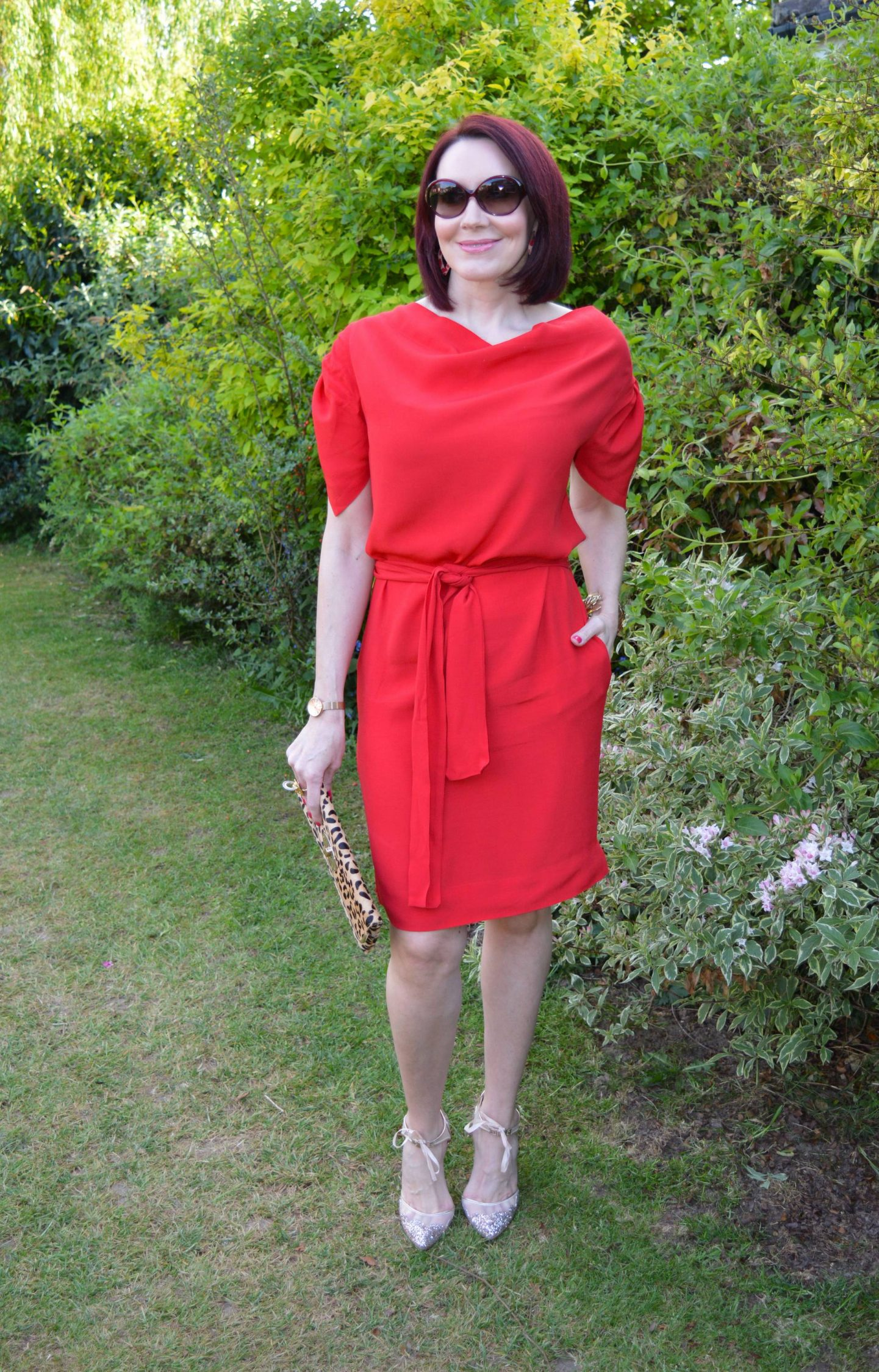 Vivienne Westwood Red Dress With Leopard Print and Glitter
