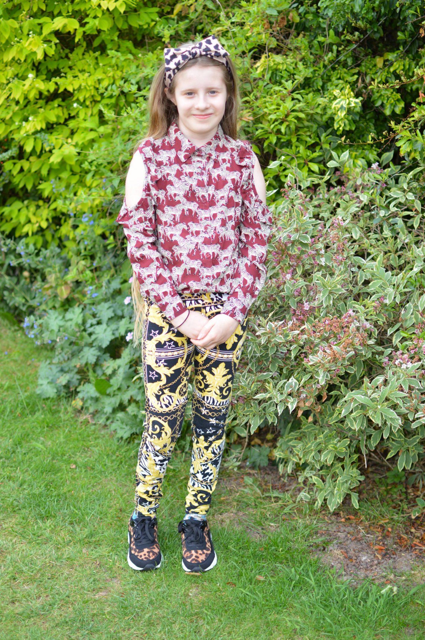 H&M girl's zebra print shirt