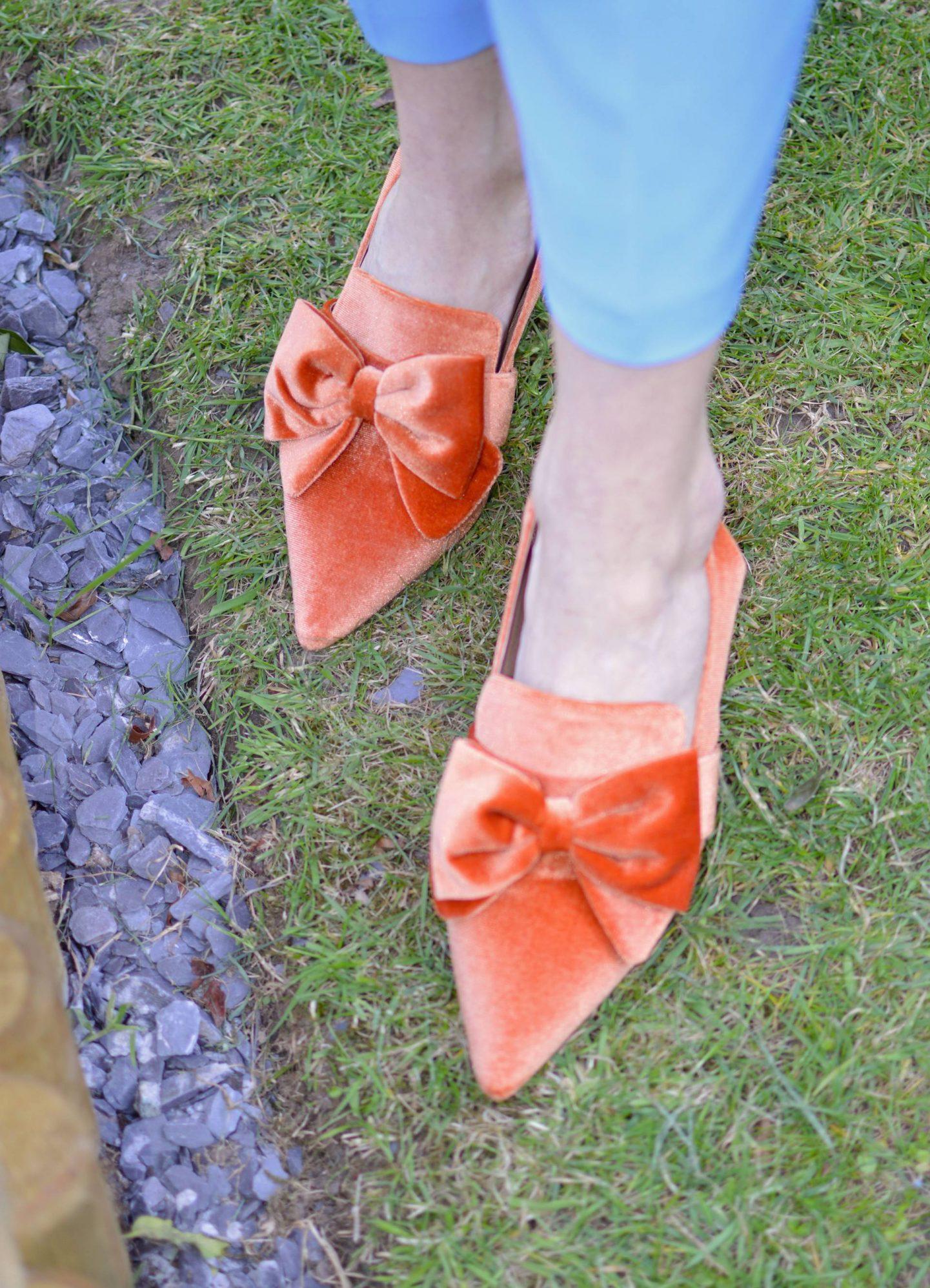 Asos orange velvet bow shoes