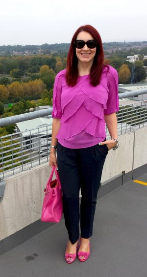 Bright Pink and Navy, Marks & Spencer pink layered top, Asos navy peg leg trousers