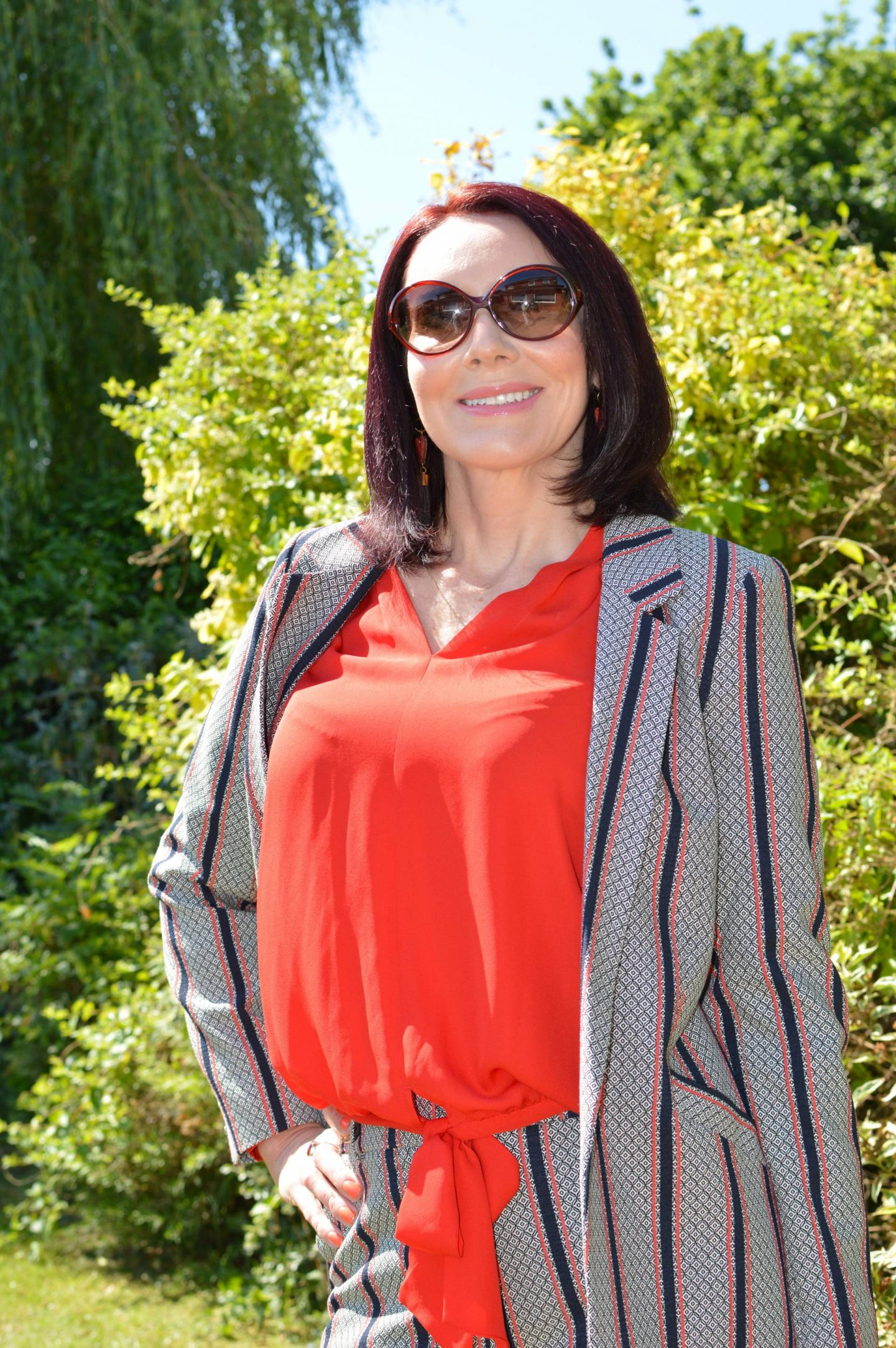 Striped Suit With Red Accents, River Island striped trouser suit, Scotch & Soda red blouse