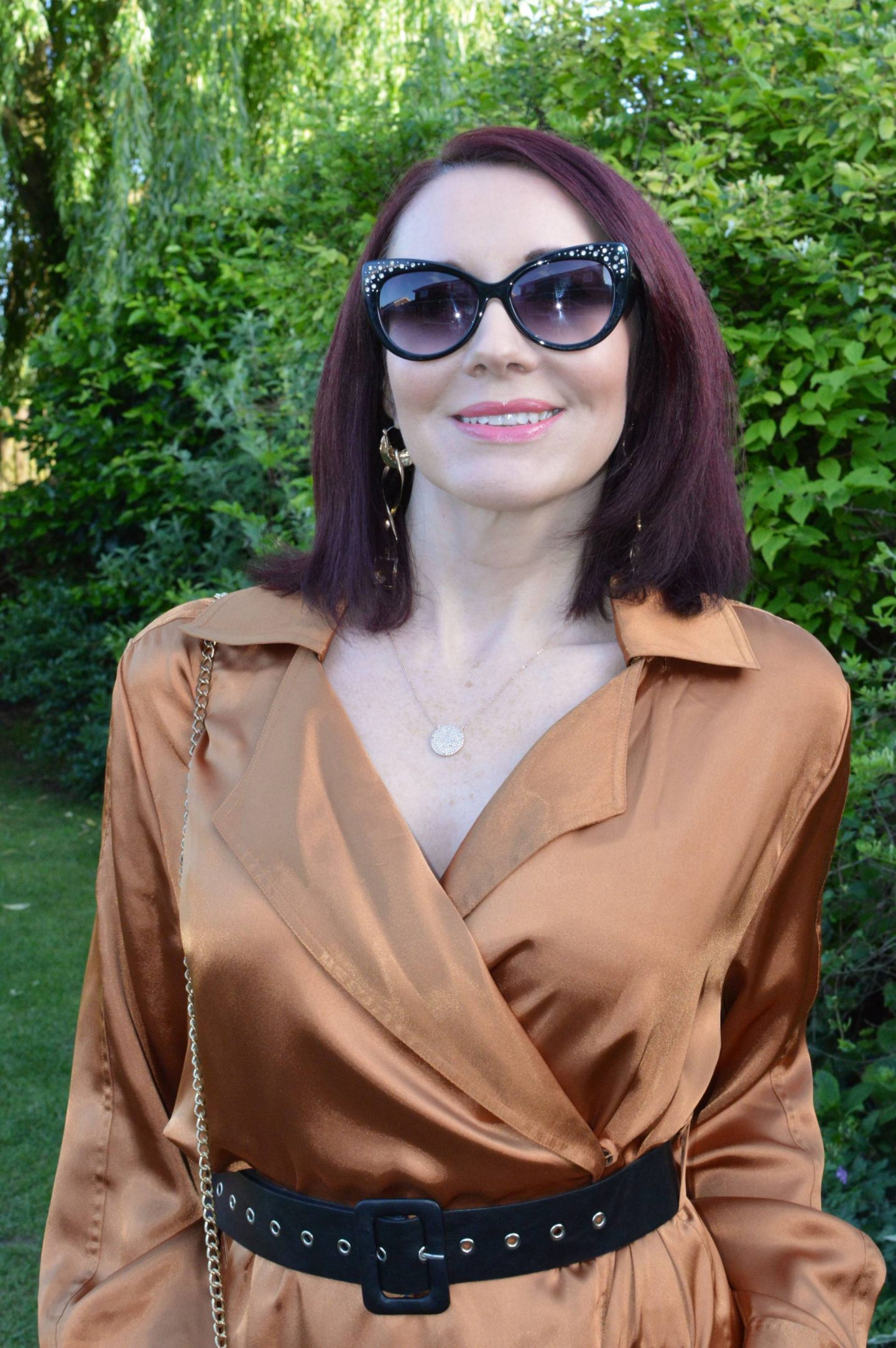 "We're Allowed ""Out Out"" - June's Match Made in Seven, Kitri satin wrap dress, Sam Edelman diamante cat eye sunglasses"