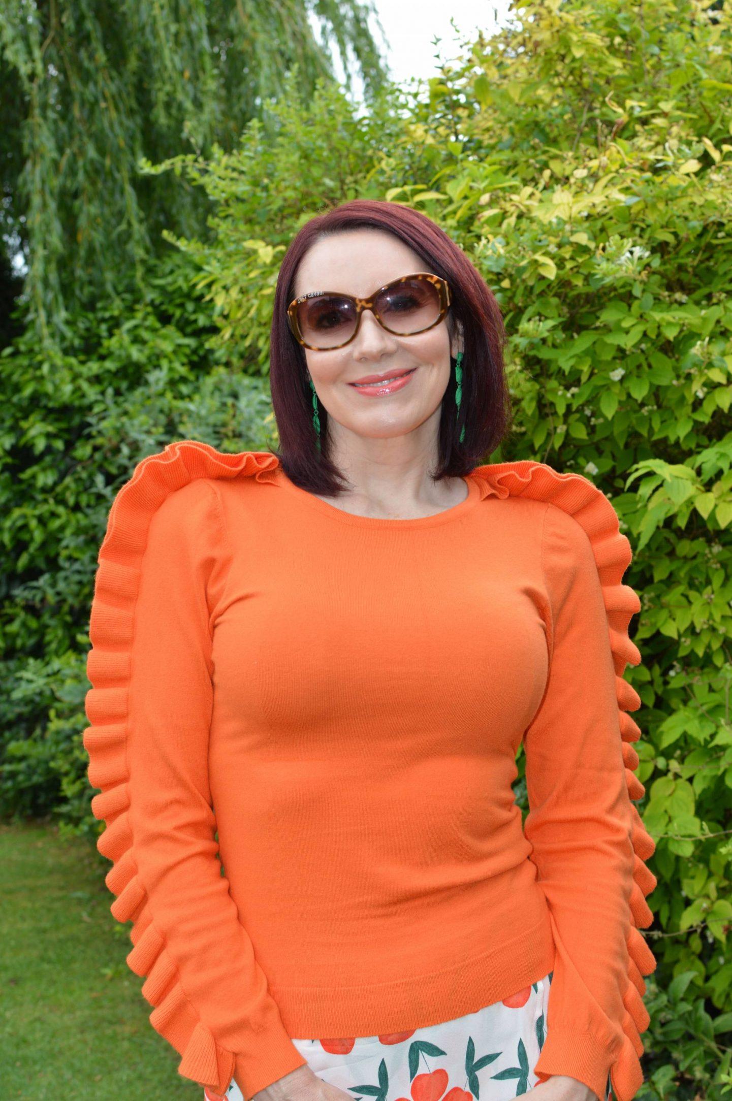 Karen Millen orange ruffle jumper