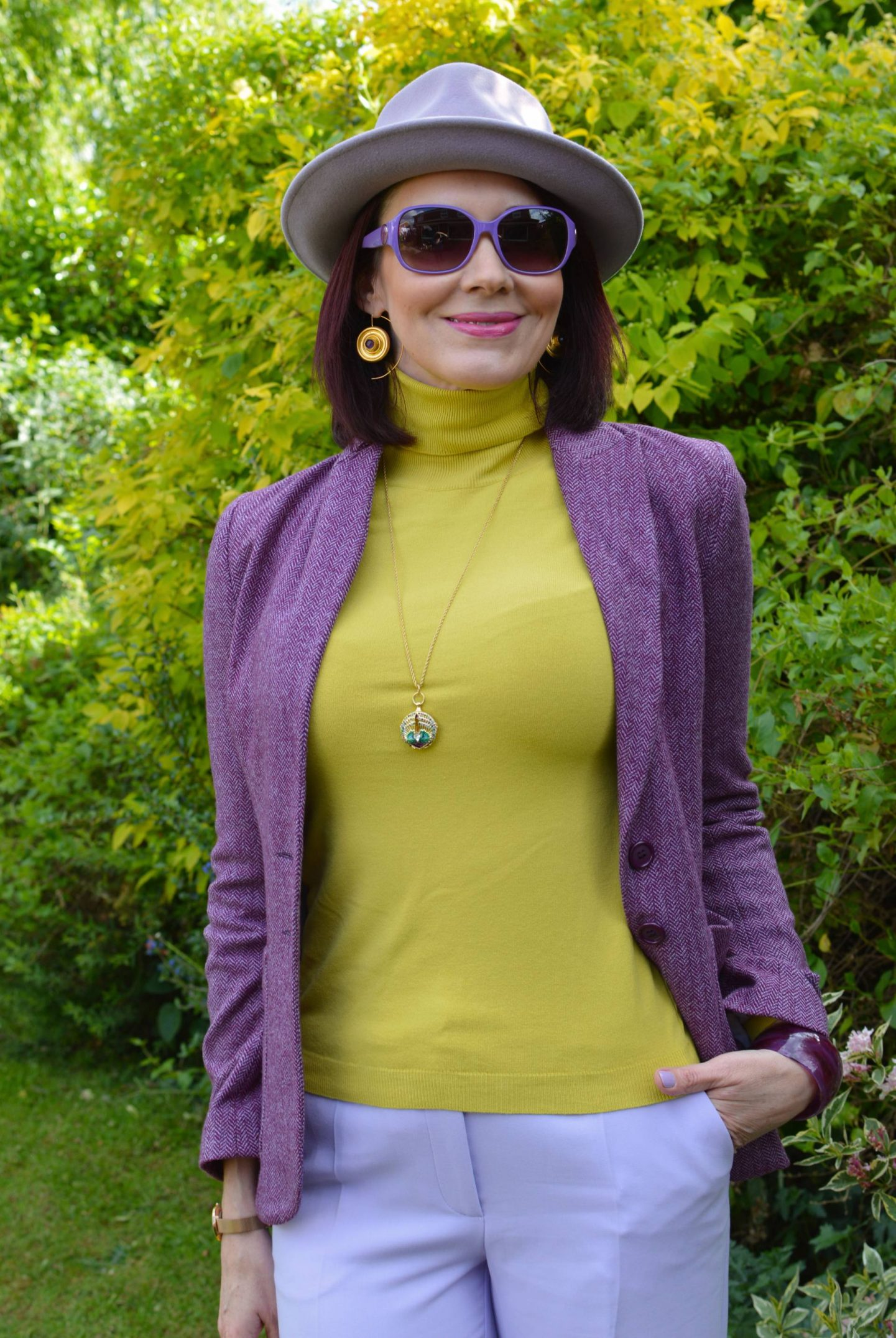 Lavender and Golden Yellow, Anthropologie lilac fedora, Maje purple tweed jacket, Karen Millen yellow high neck sweater, Ottoman Hands amethyst disc earrings, Ted Baker purple sunglasses