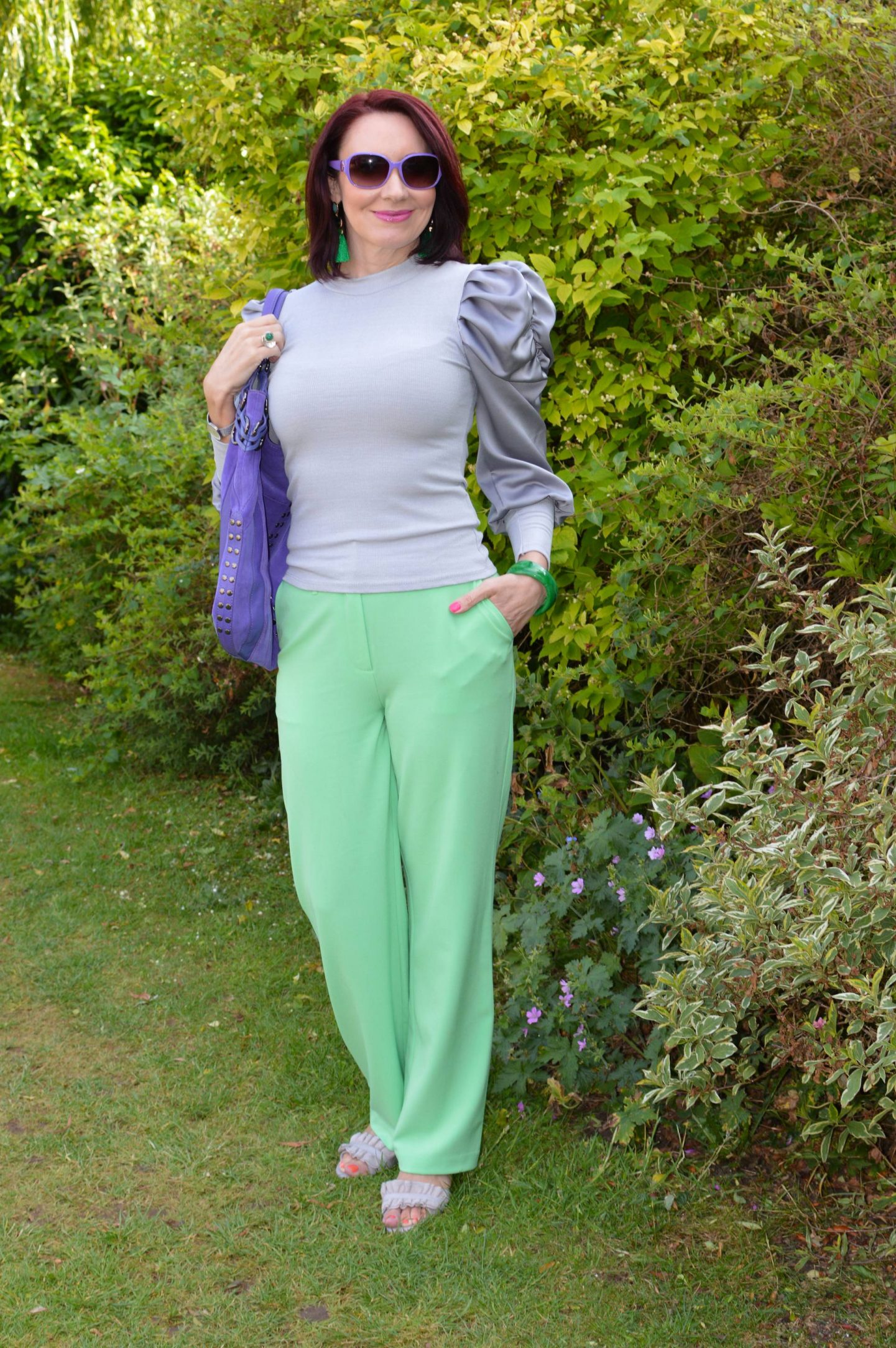 Soft Grey and Mint Green, New Look grey satin sleeve top, Collusion mint green trousers. purple Ri2k bag