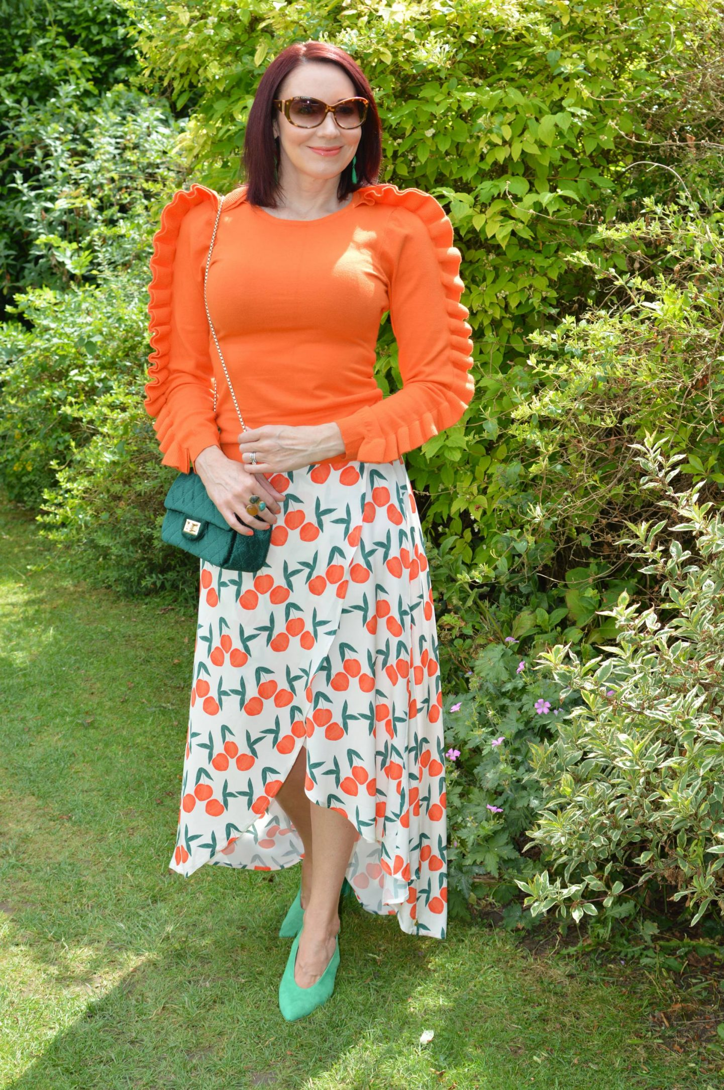 Fabienne Chapot Peach Print Skirt, Karen Millen orange ruffle jumper