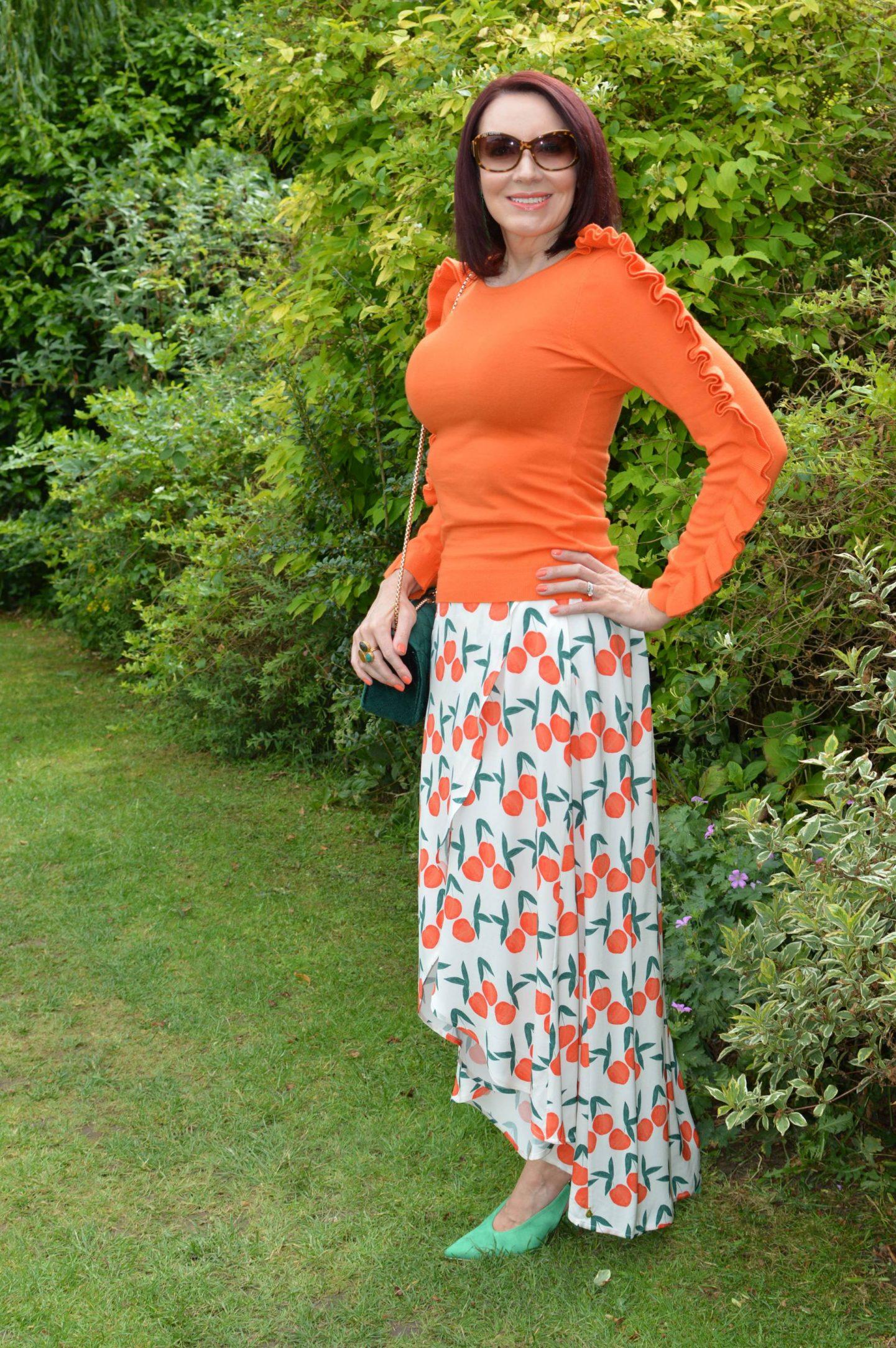 Fabienne Chapot Cora Peach Print Skirt, Karen Millen orange ruffle jumper
