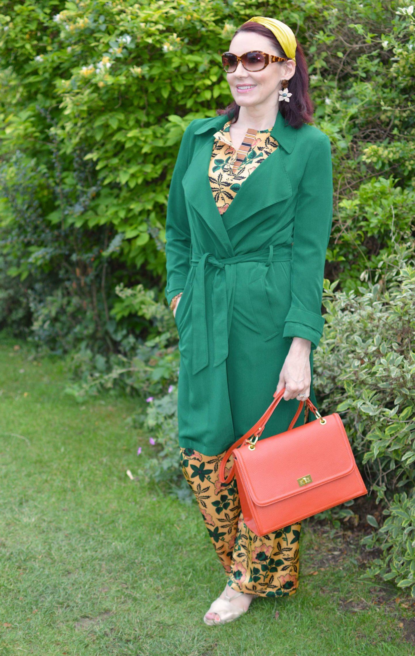 Scotch & Soda Floral Print Co-ord, green Papaya trench coat
