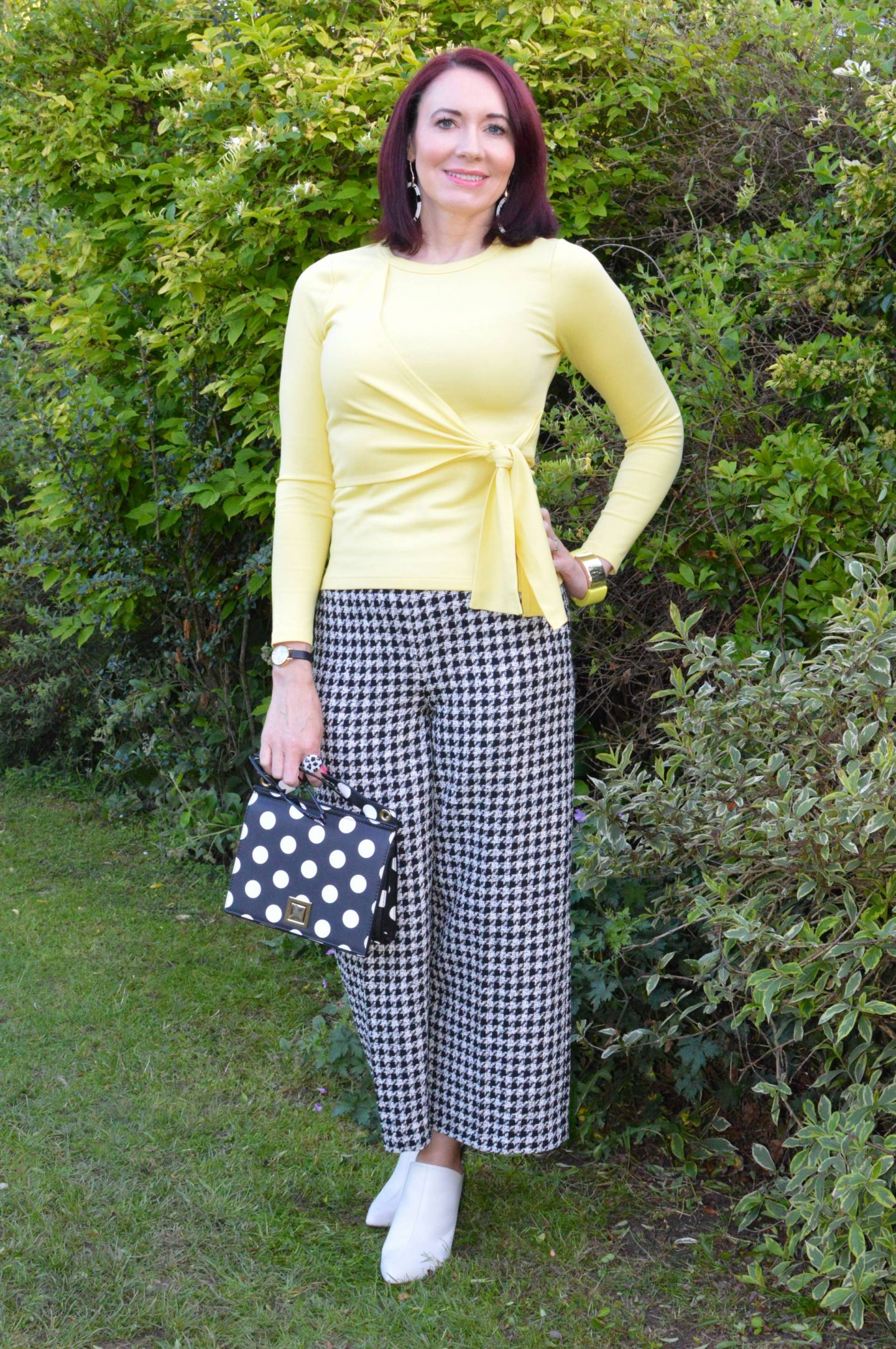 Zara houndstooth trousers, Mango polka dot bag, Karen Millen yellow tie front top