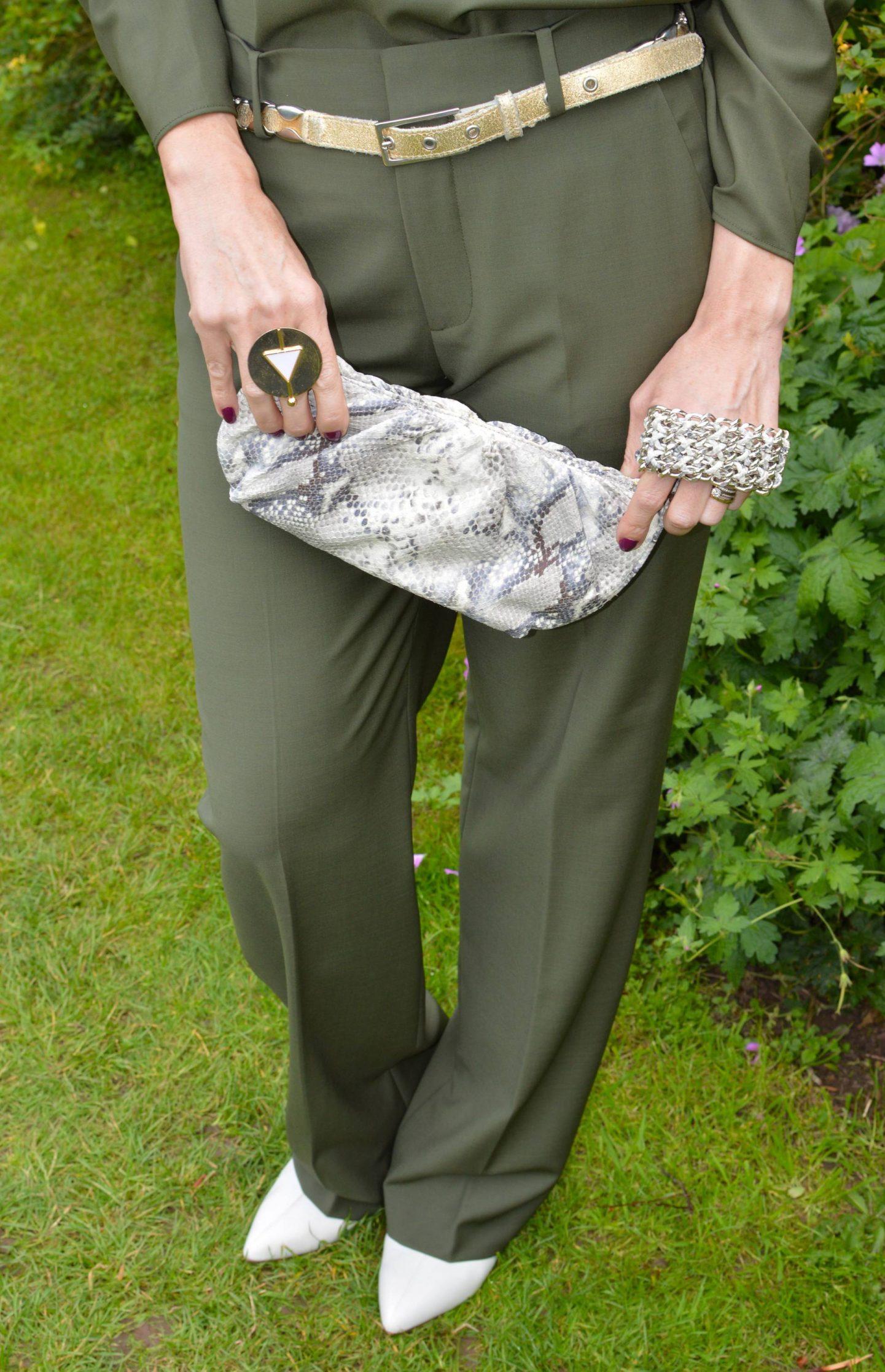 Zara Khaki Trousers, Rodo snake print clutch