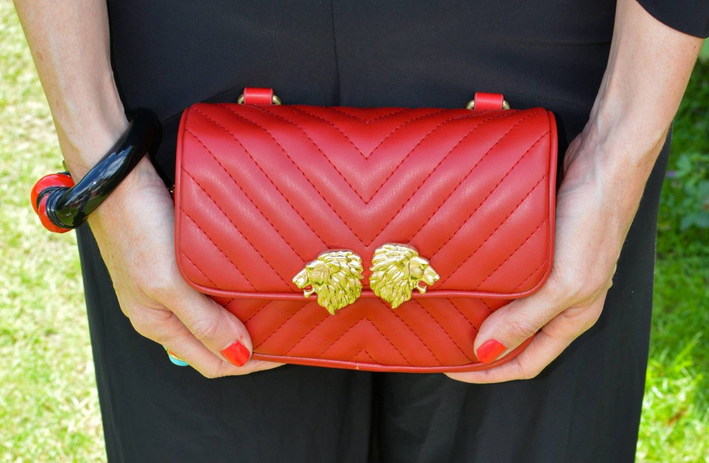Red Zara faux leather multiway bag