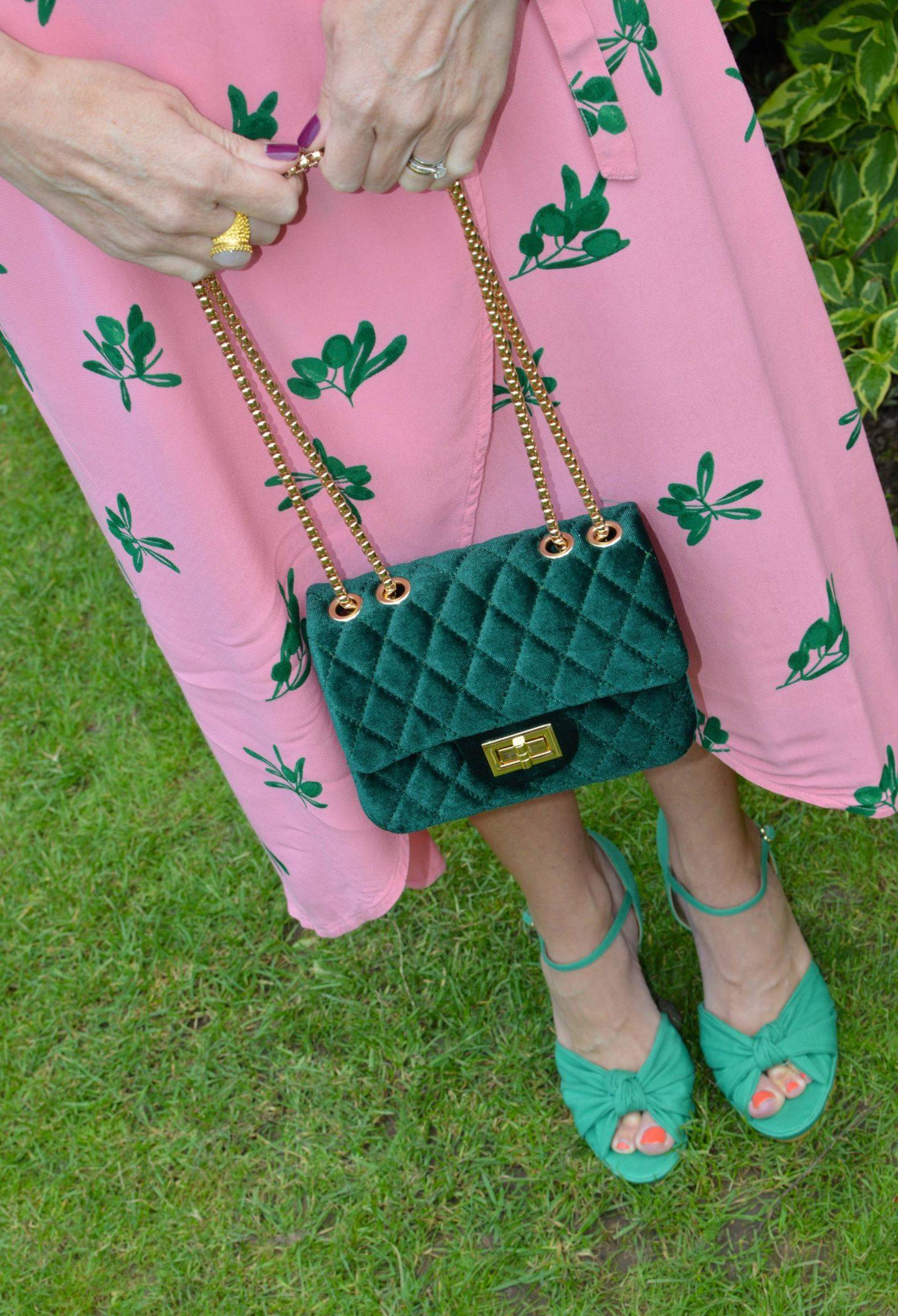 Fabienne Chapot Pink Wrap Dress, green velvet quilted bag