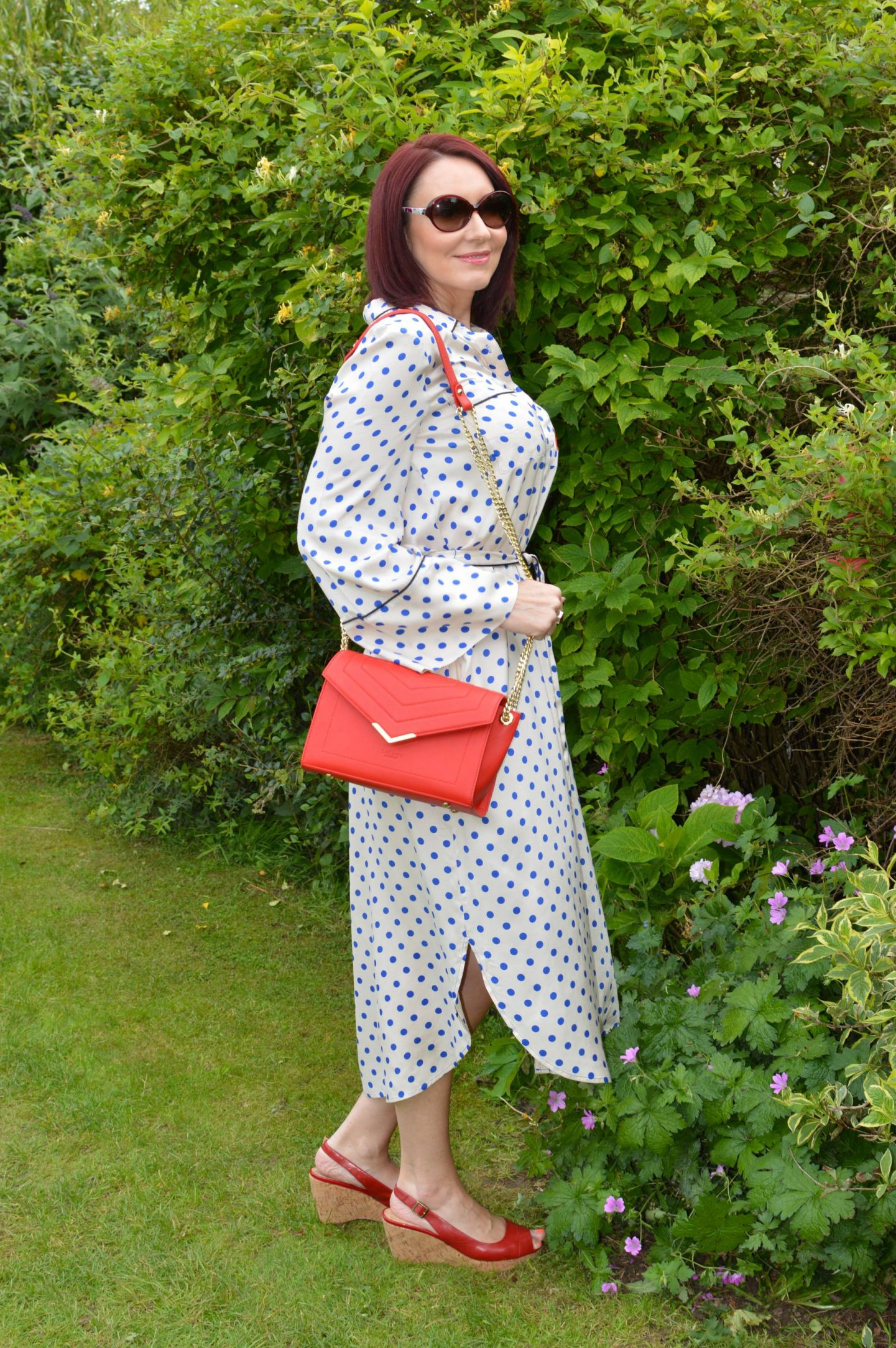 Essential Antwerp Shirt polka dot Dress. LaBante vegan leather red bag