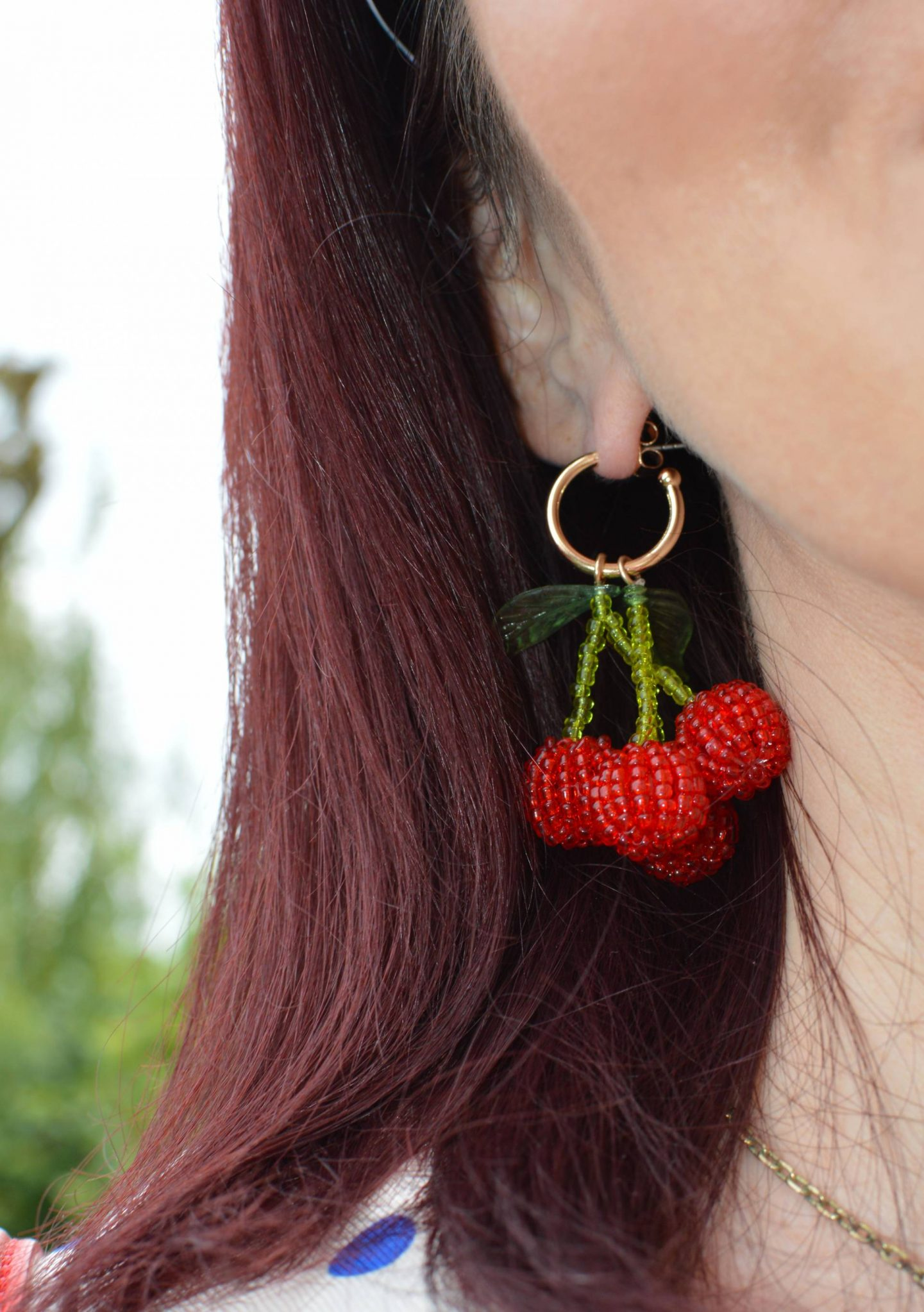 Zara beaded cherry earrings