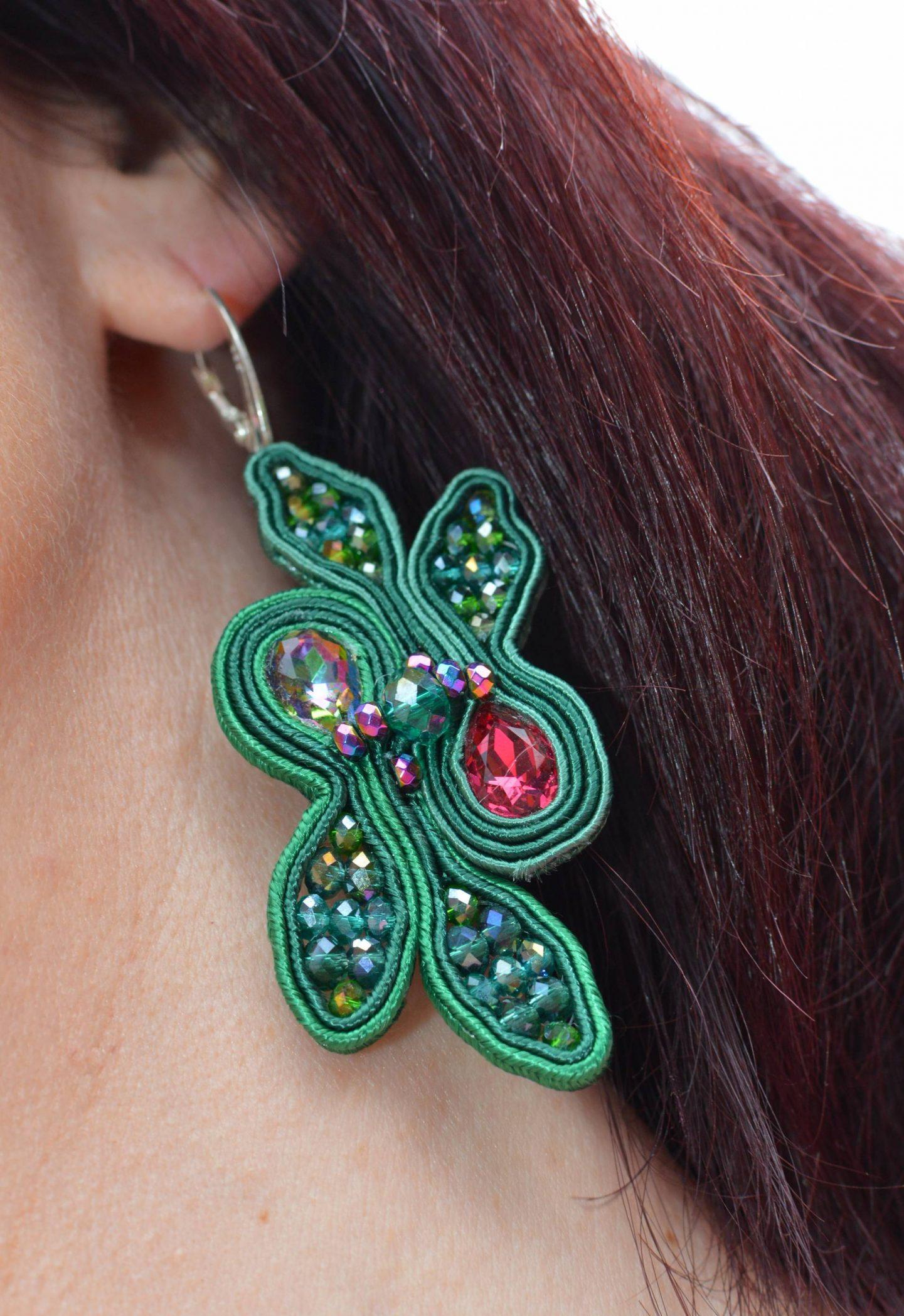 BeExceptional green jungle earrings