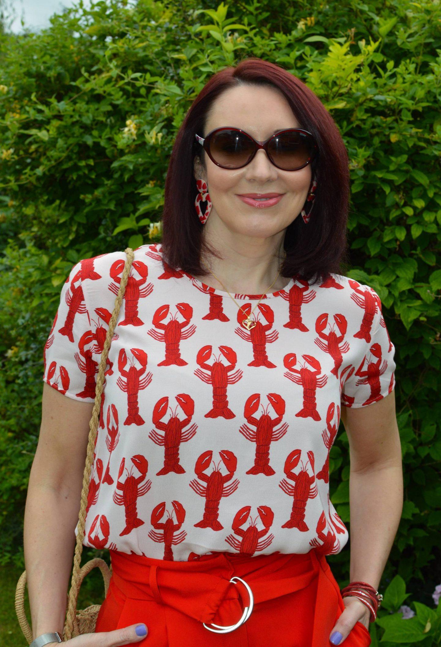 Fabienne Chapot Lobster Print Top, No Shrinking Violet heart earrings