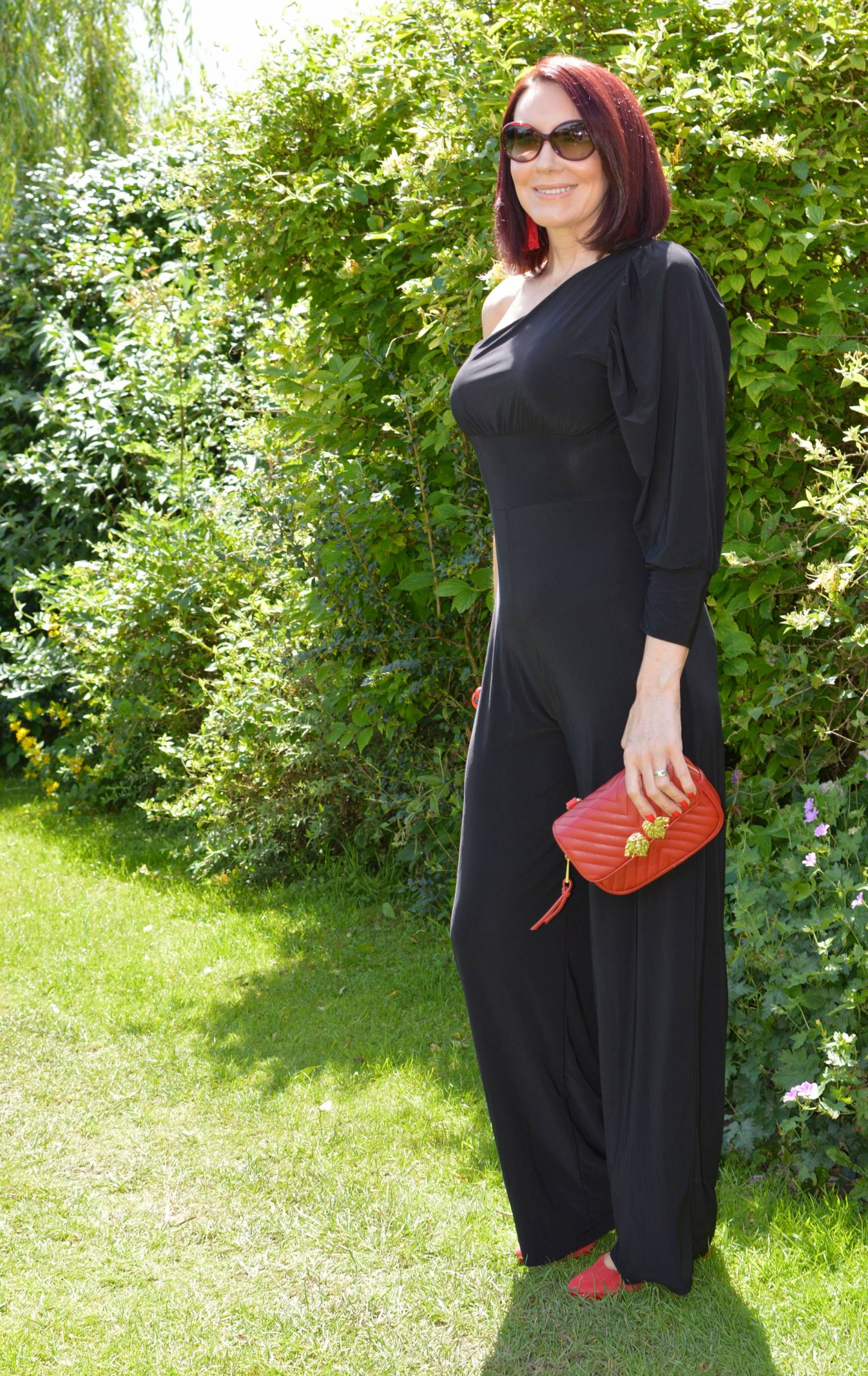 Black One Shoulder Jumpsuit With Red Accessories
