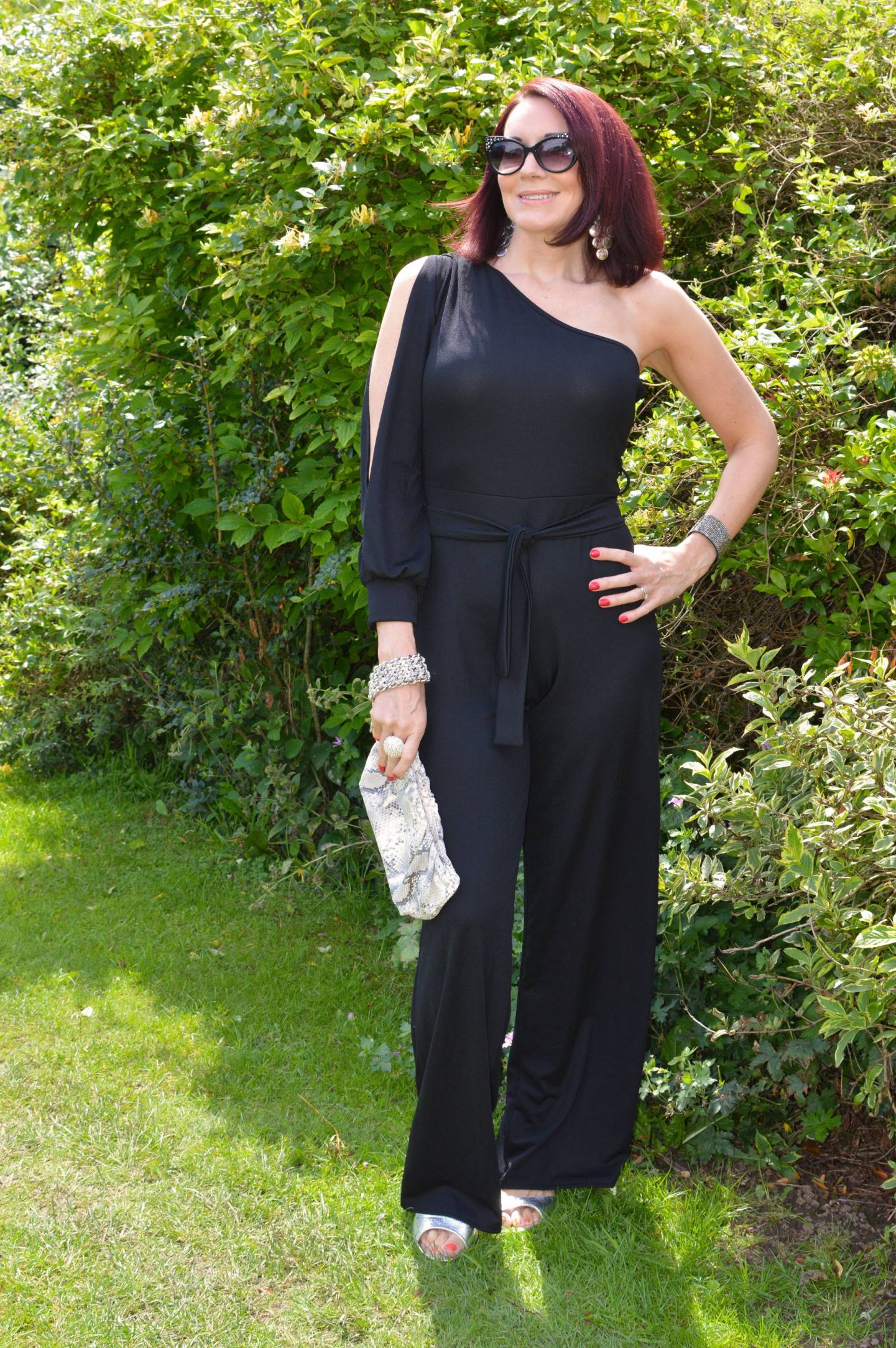Black Split Sleeve Jumpsuit