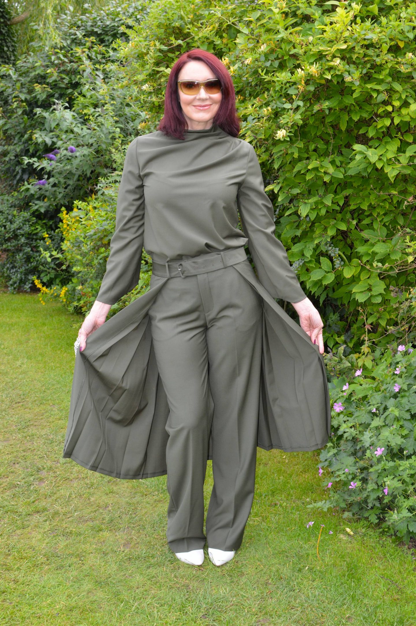 Zara Khaki top and trousers with half skirt
