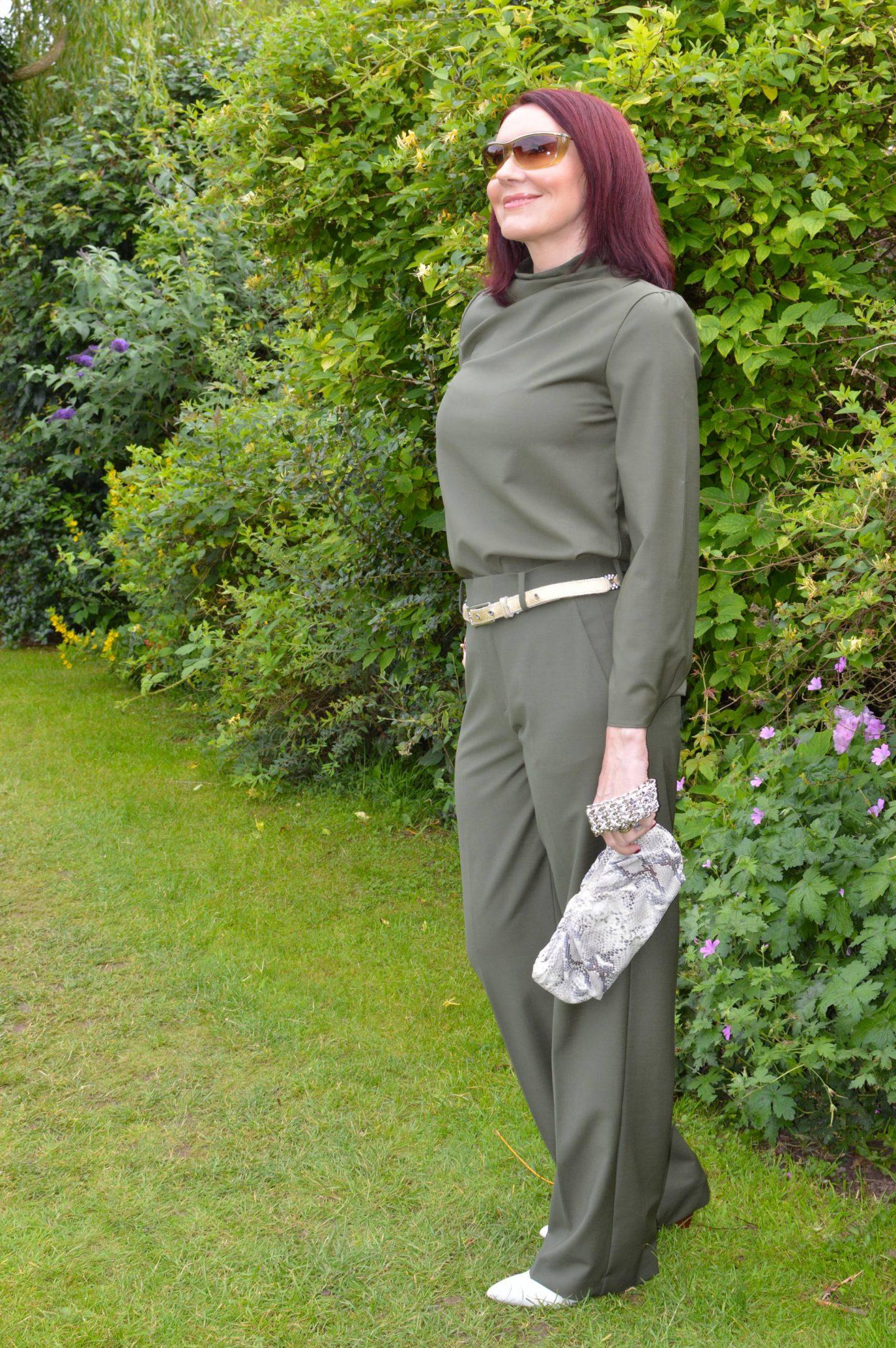 Zara Khaki Trouser Co-ord, Rodo snake print clutch