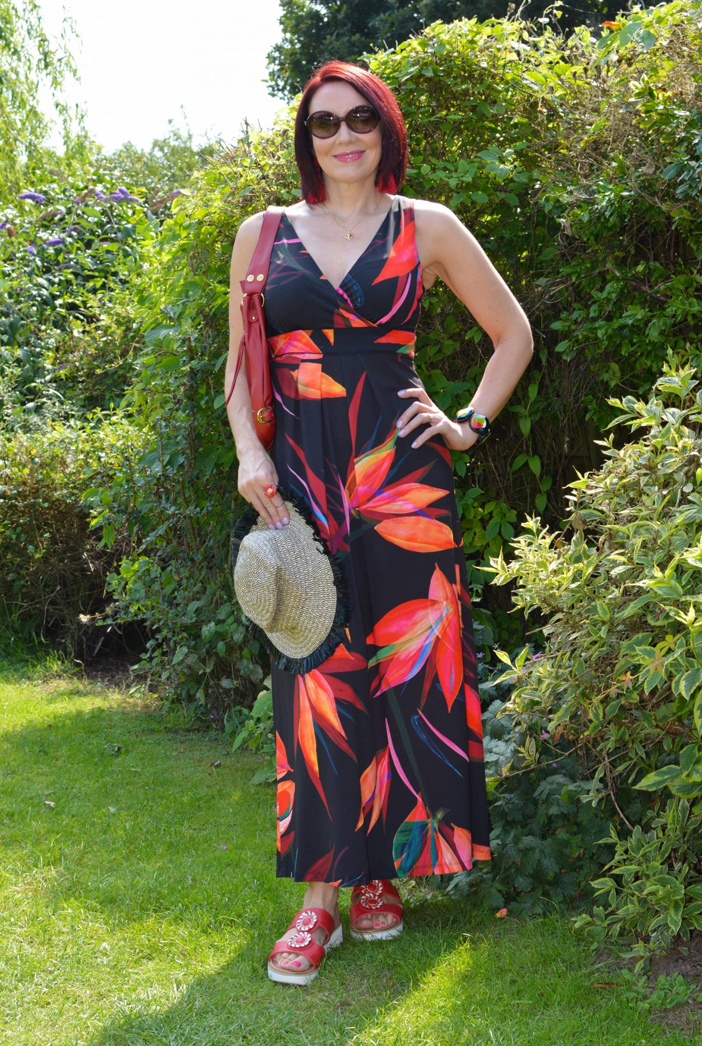 Monsoon Tropical Print Maxi Dress, Heavenly Feet Viva sandals