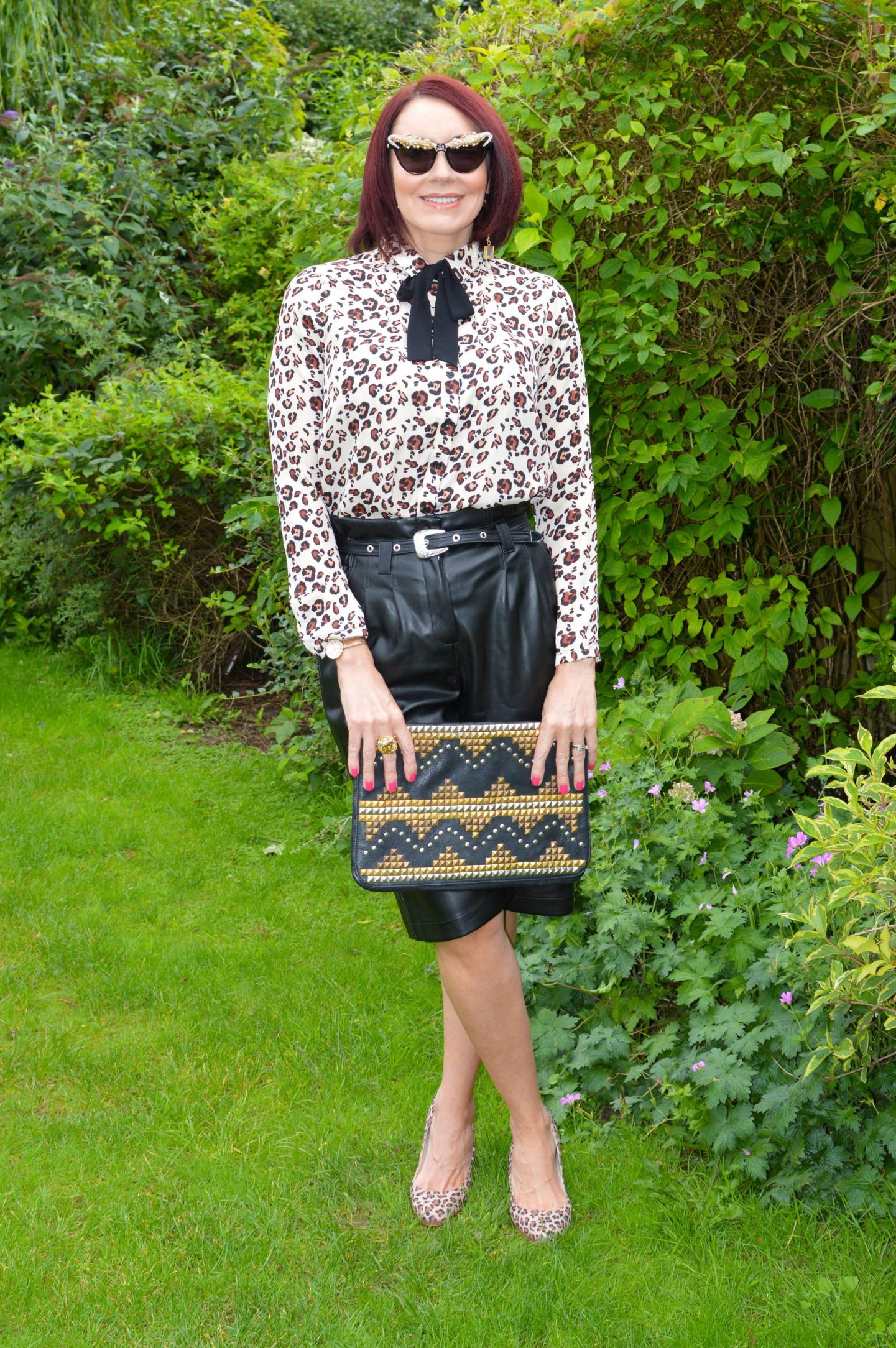 What I'd Wear on the Frow - August's Style Not Age, River Island faux leather culottes, Asos studded clutch