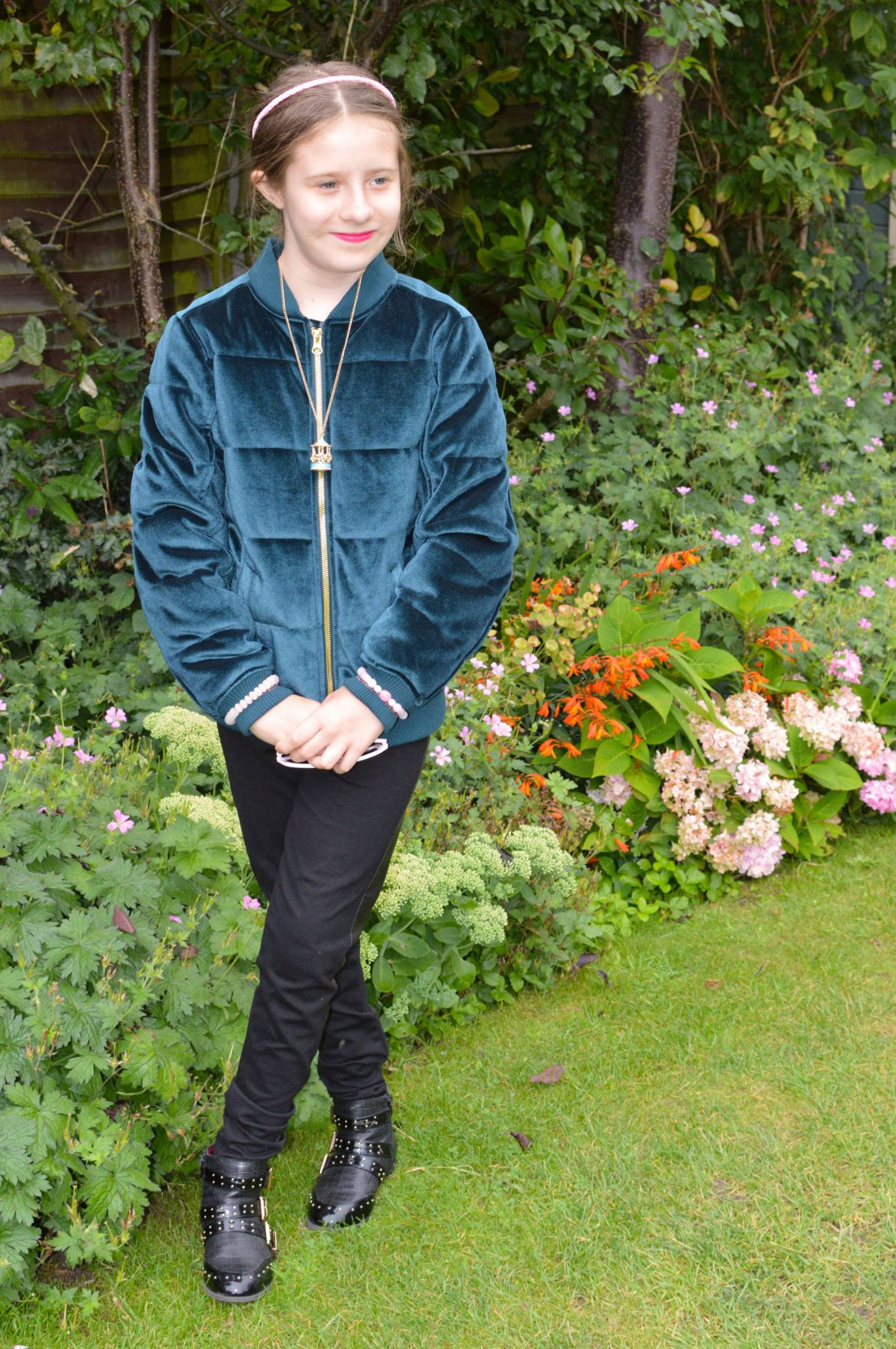 Isobel, Marks & Spencer teal green velvet bomber jacket