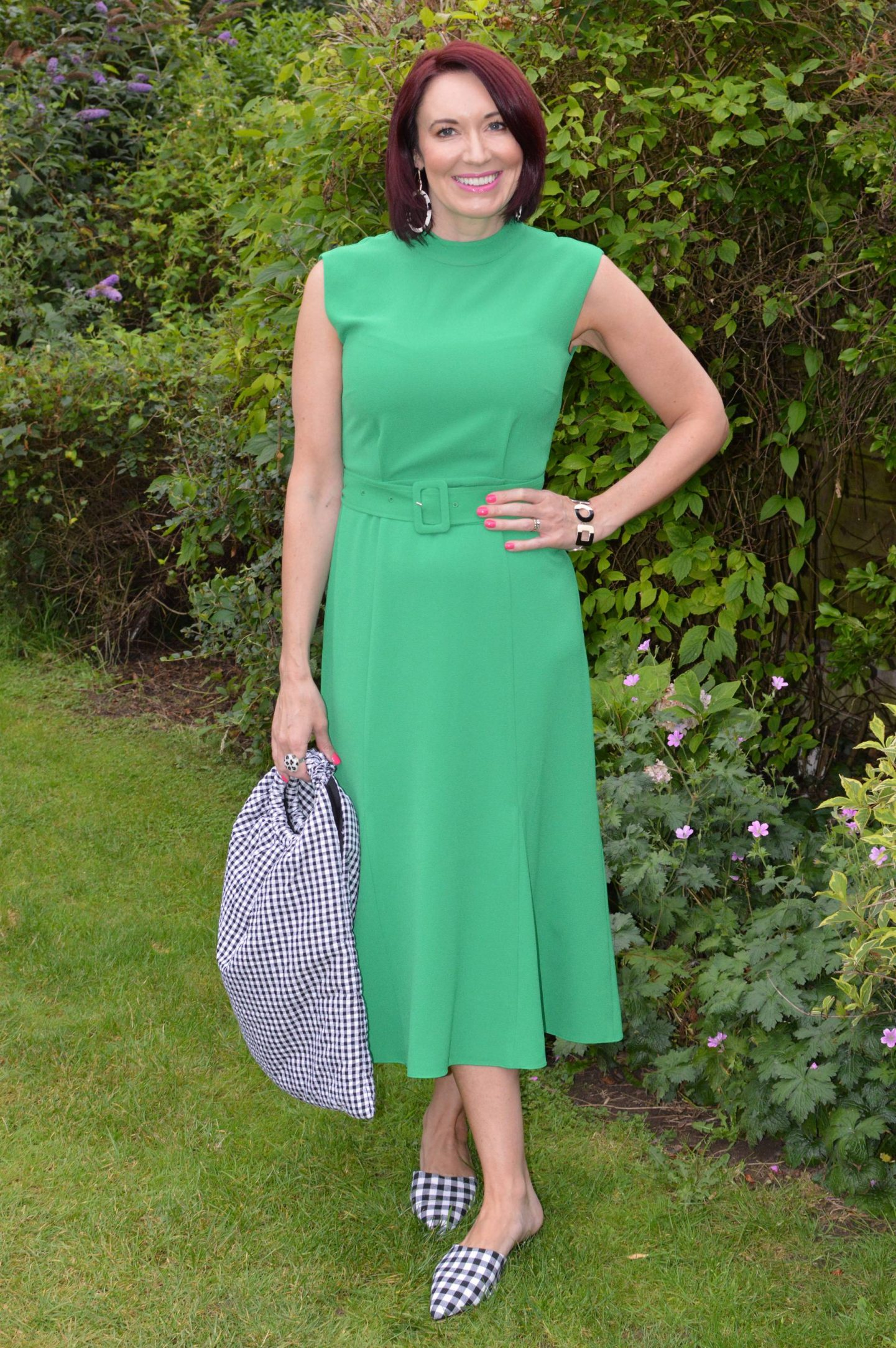 Emerald Green and Gingham + Style With a Smile Link Up, Whistles Penny belted dress, Zara gingham bag