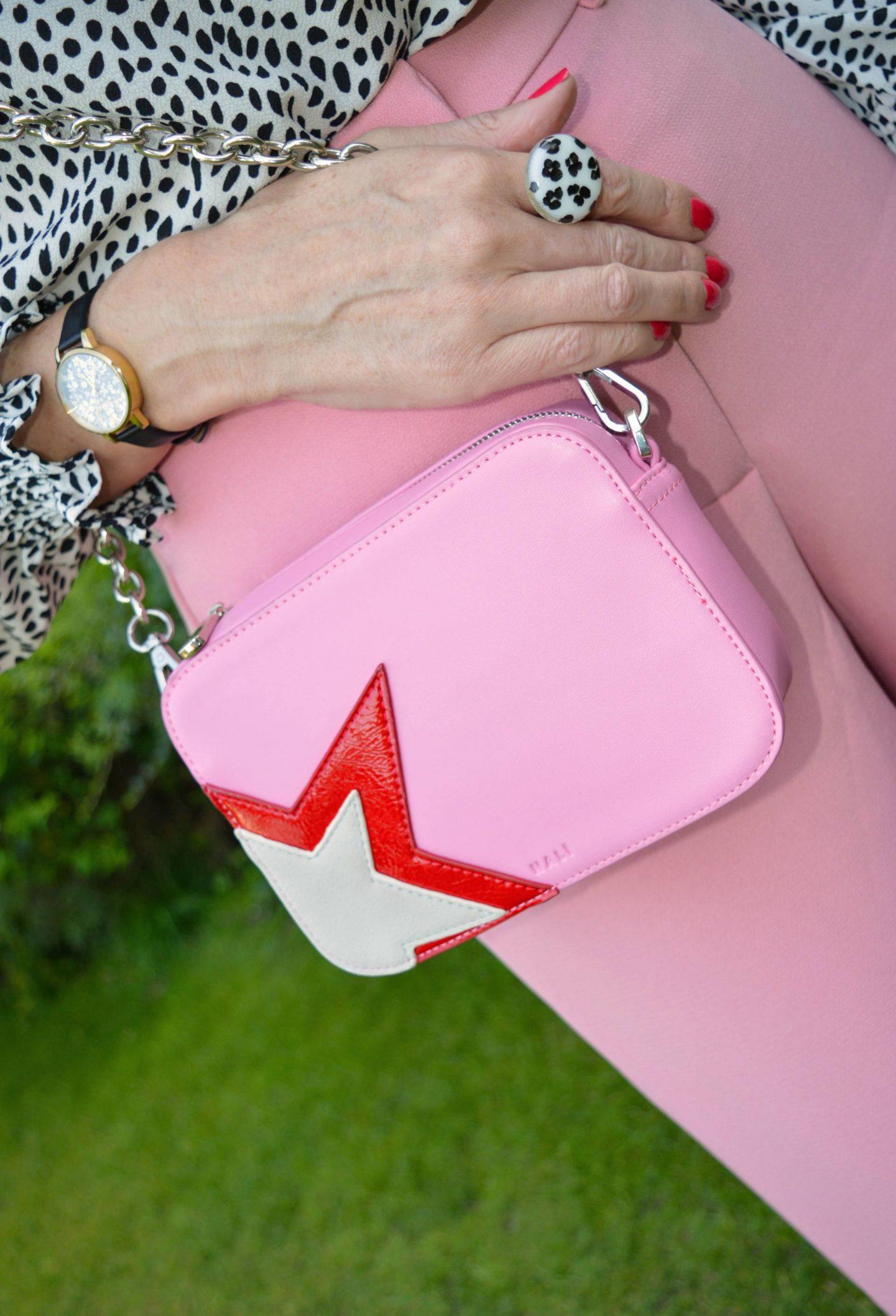 pink crossbody bag, Olivia Burton watch