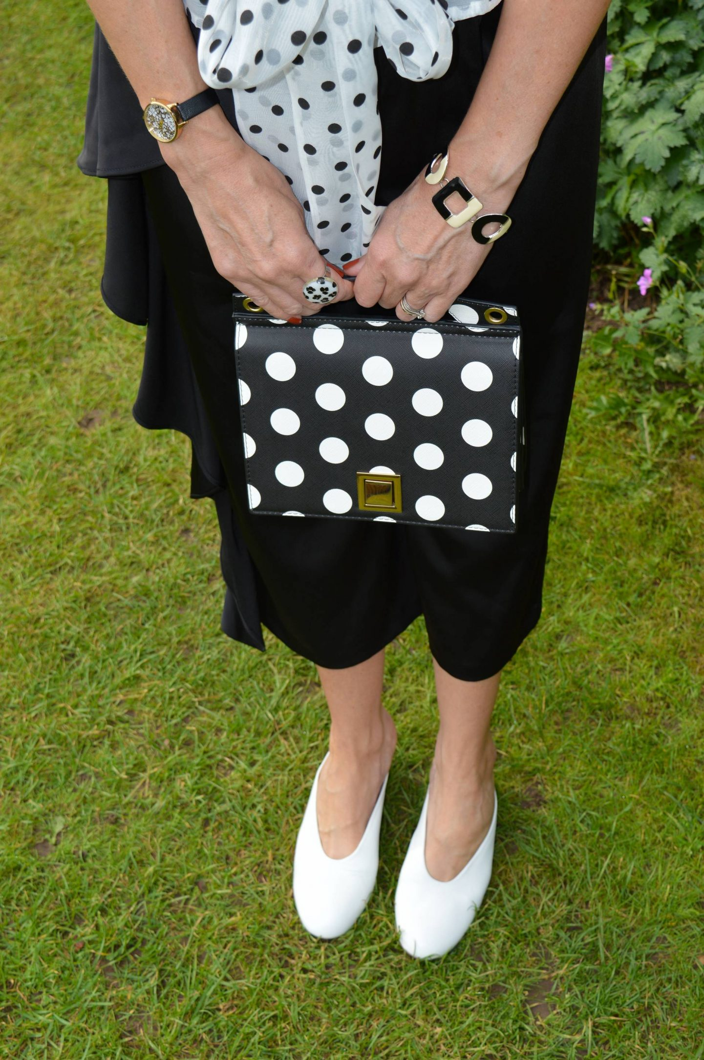 Mango polka dot bag, white preloved shoes