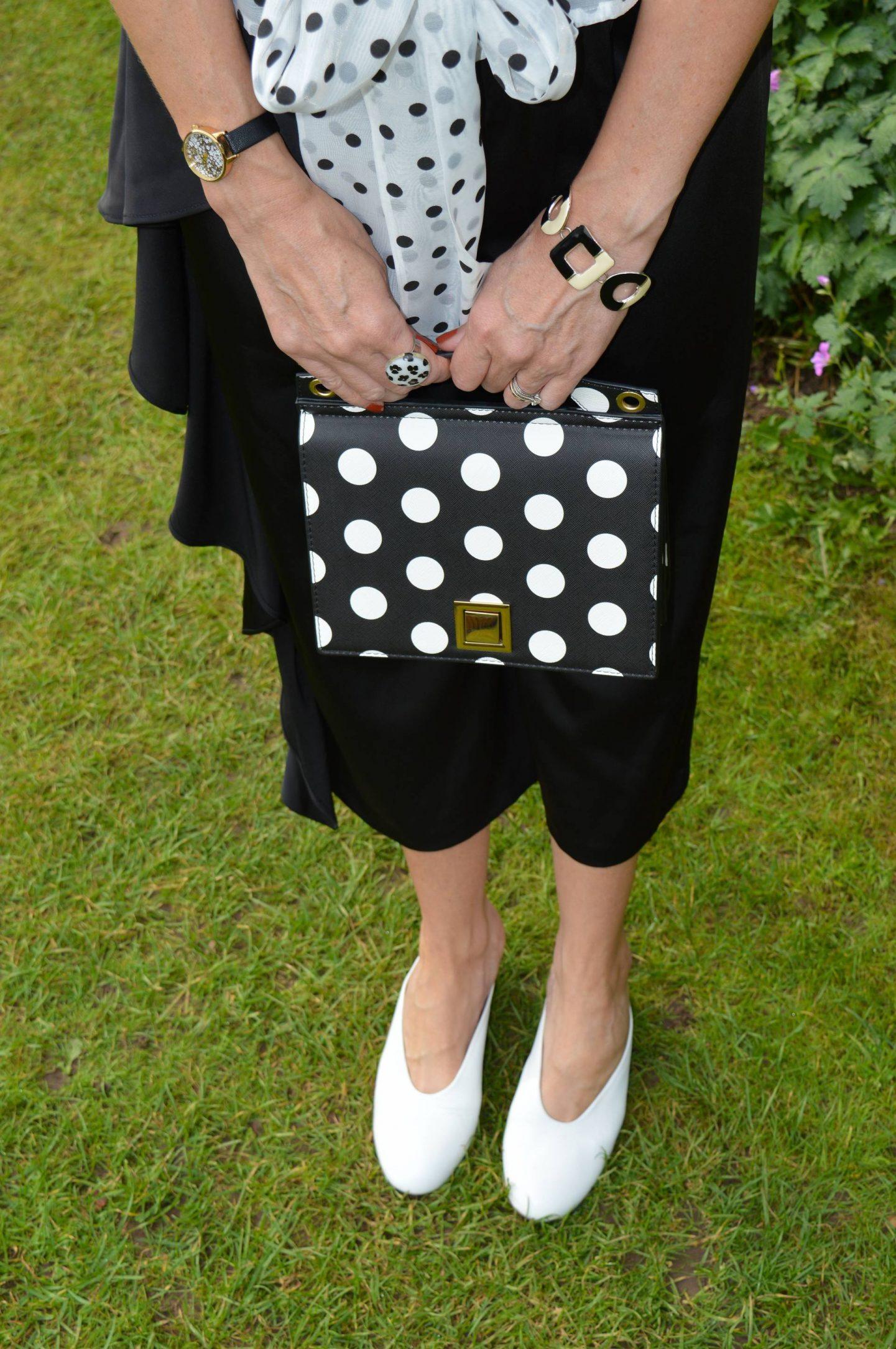 Mango polka dot bag, white preloved shoes