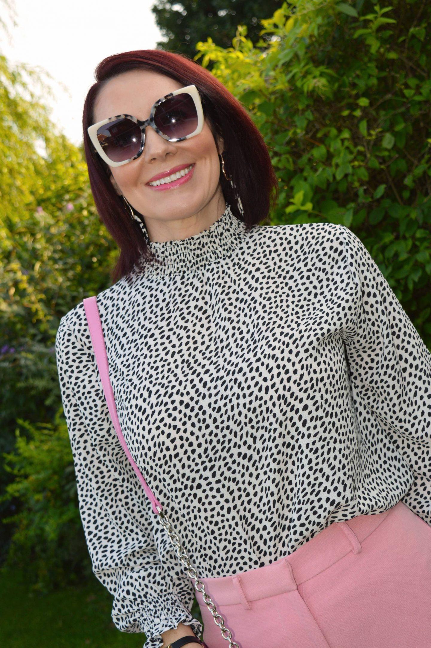 Coast shirred polka dot neck smock top, Oliver Bonas white and tortoiseshell sunglasses