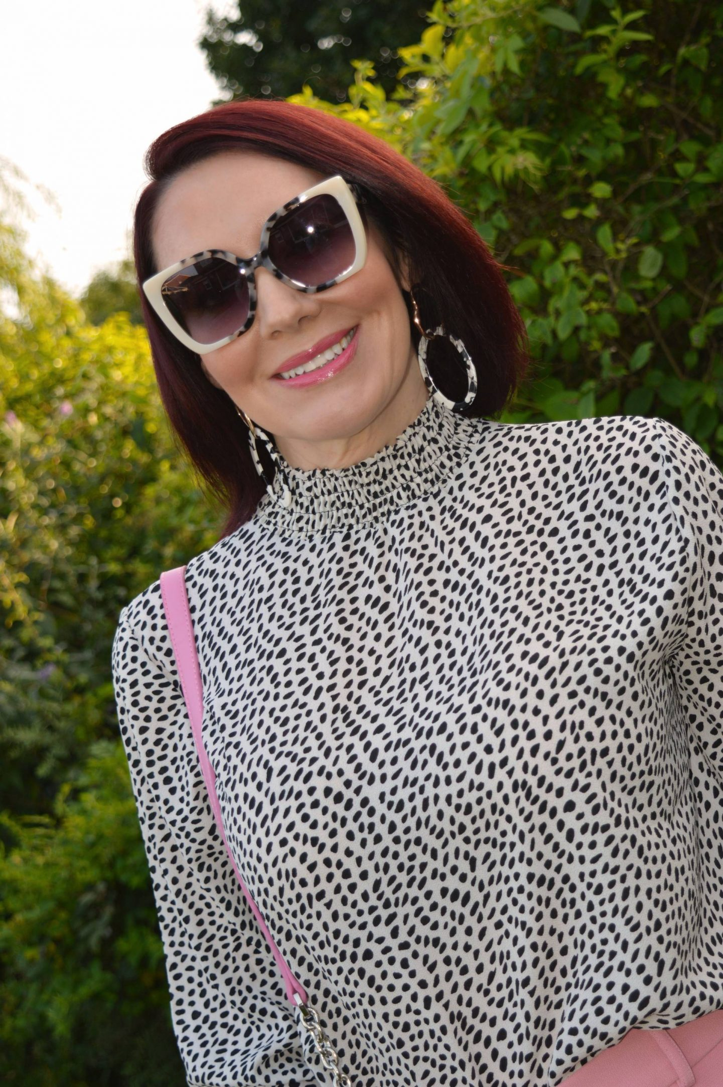 Pink Wide Leg Trousers and Polka Dots, Coast shirred neck smock top