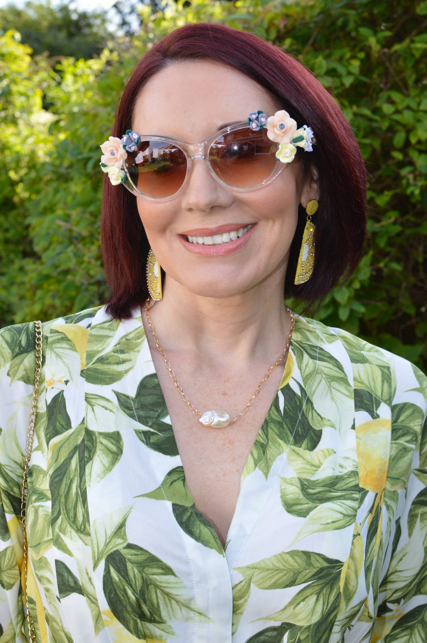 H&M Lemon earrings, Jeeper Peepers flower sunglasses